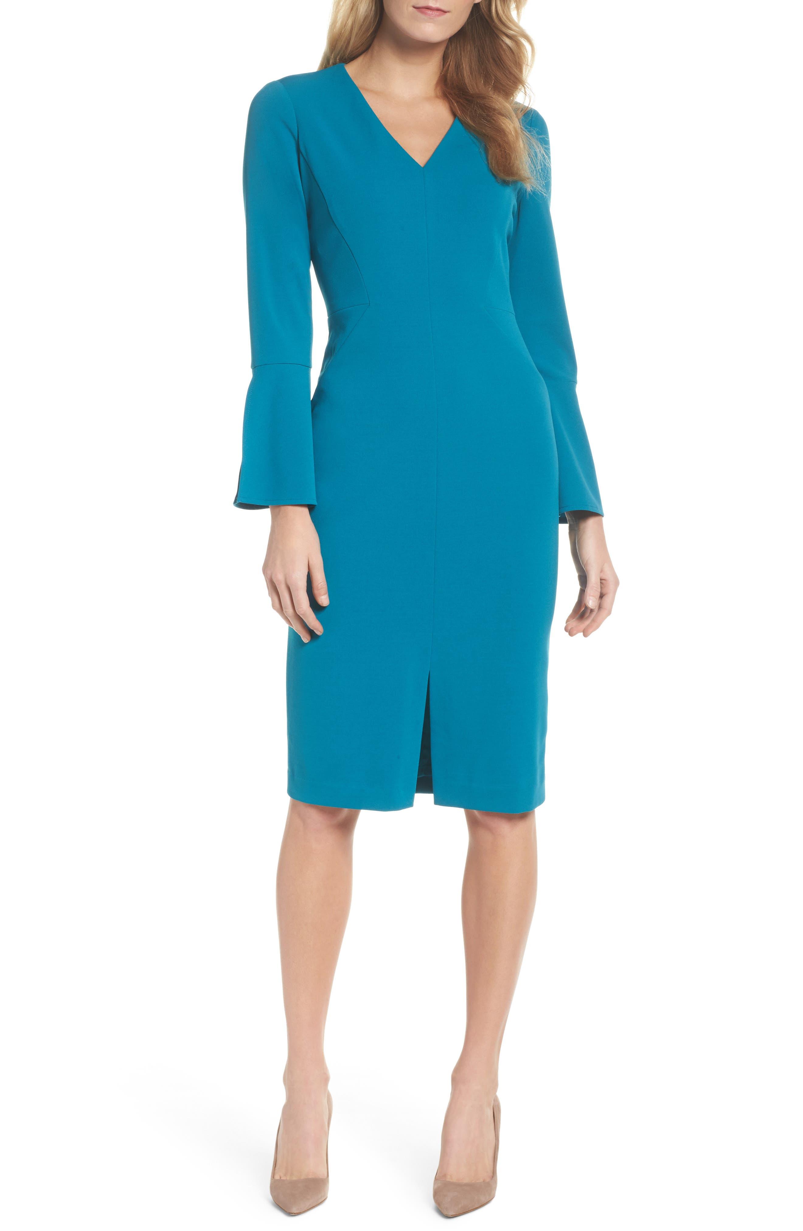 Bell Sleeve Sheath Dress,                             Main thumbnail 1, color,                             436
