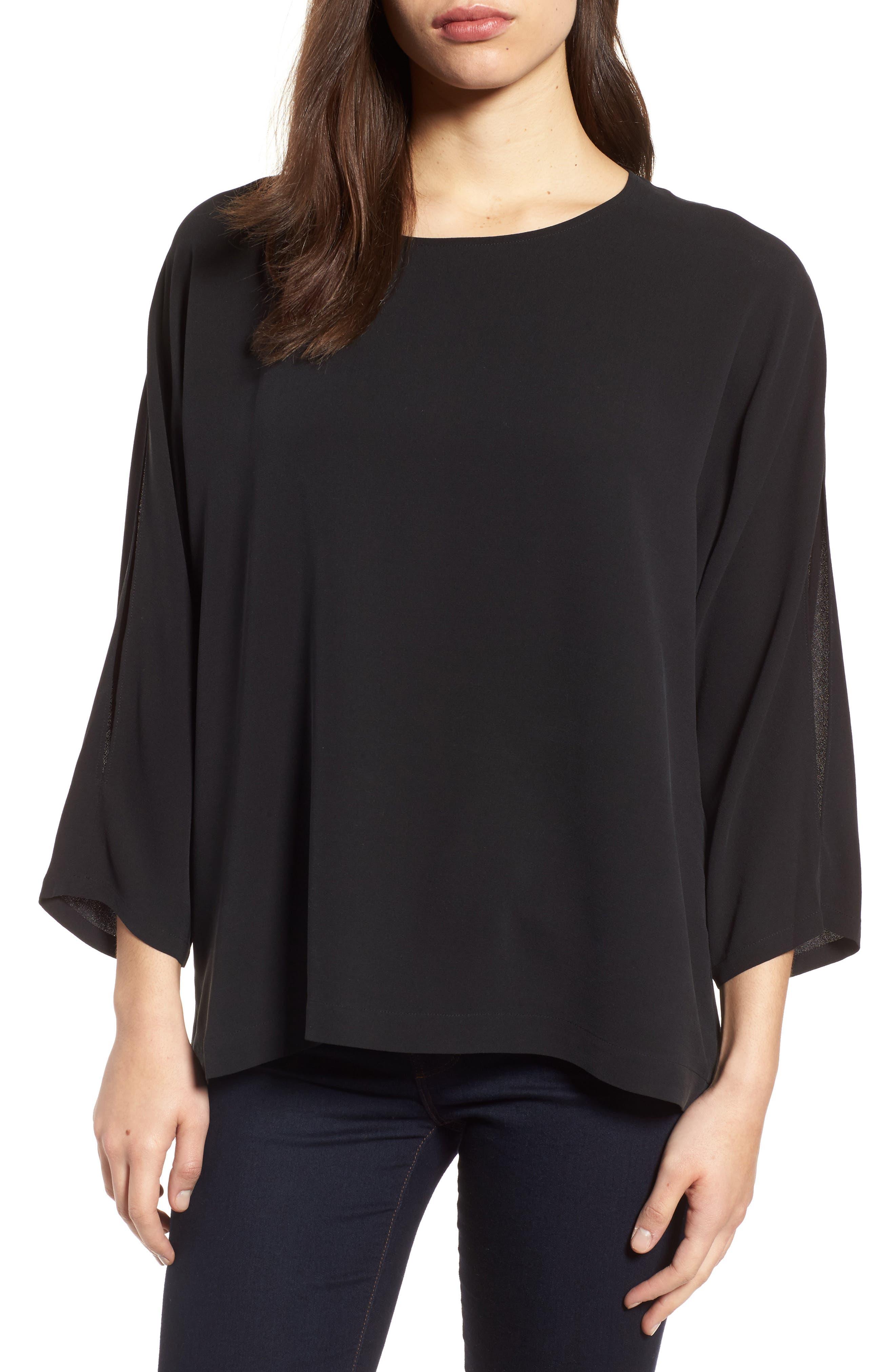 Slit Sleeve Silk Top,                         Main,                         color,