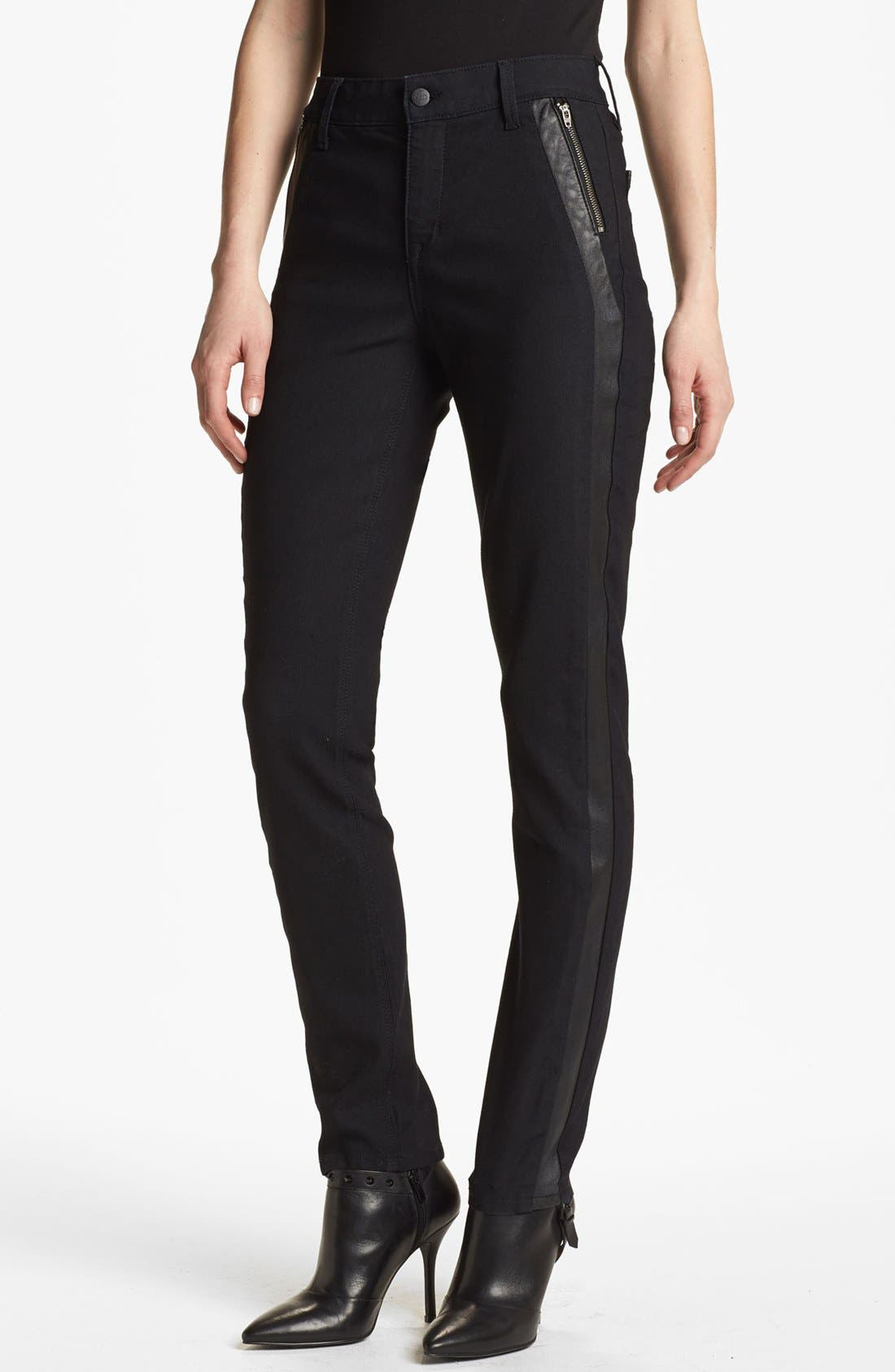 'Megan' Faux Leather Trim Stretch Skinny Jeans,                             Alternate thumbnail 2, color,                             460