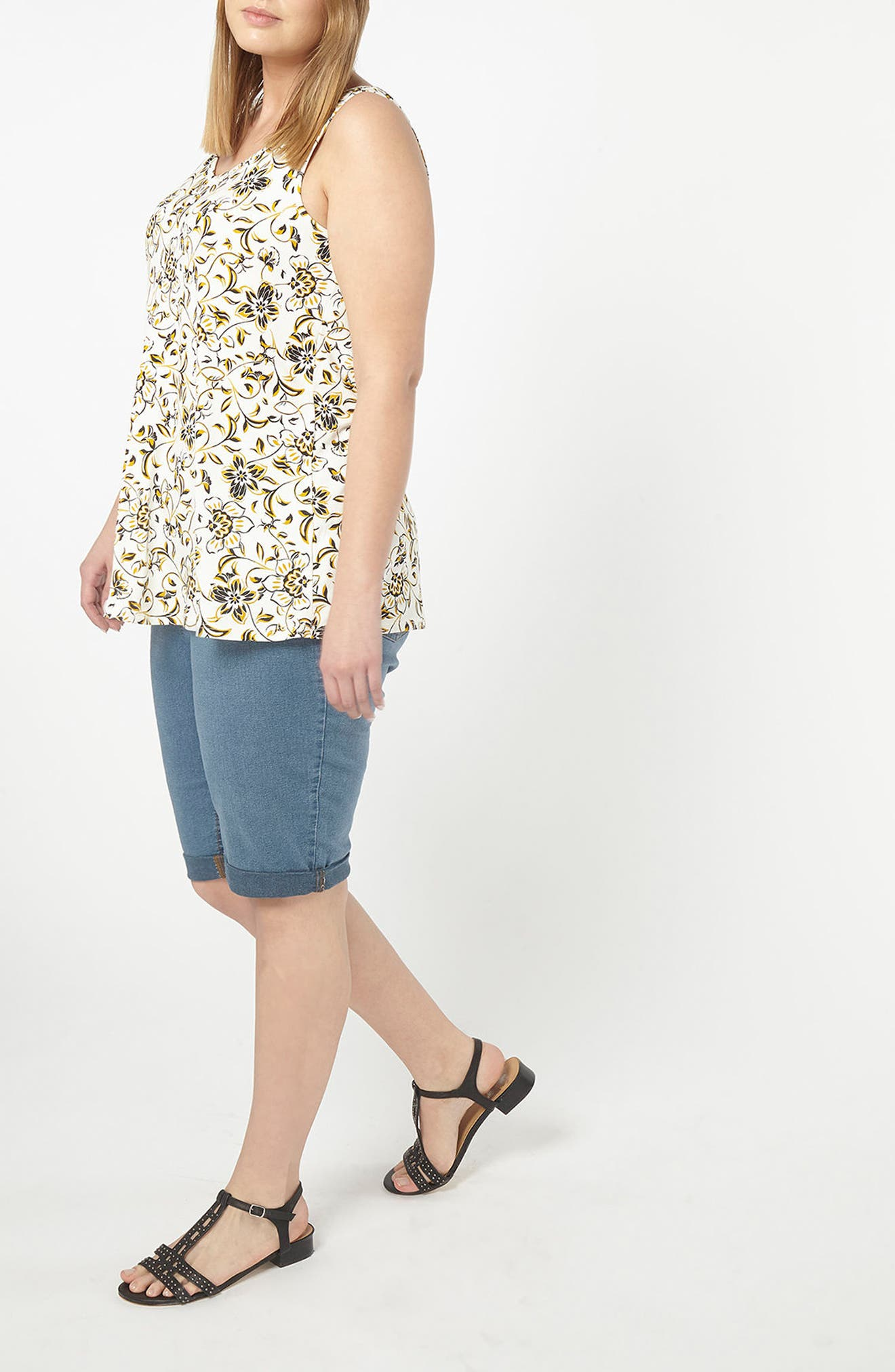 Floral Print Jersey Tank,                             Alternate thumbnail 5, color,                             110