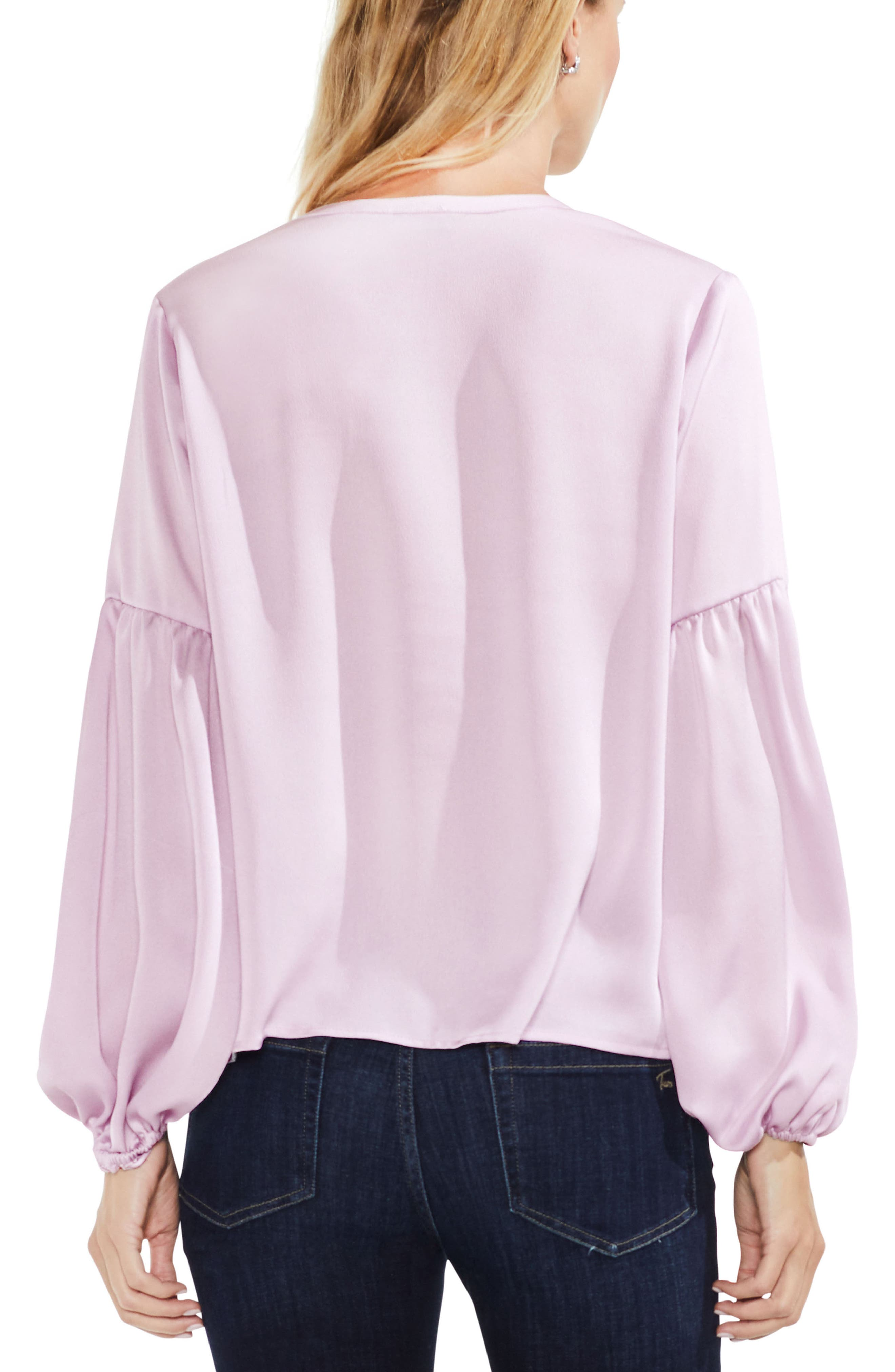 Lace-Up Hammered Satin Blouse,                             Alternate thumbnail 12, color,