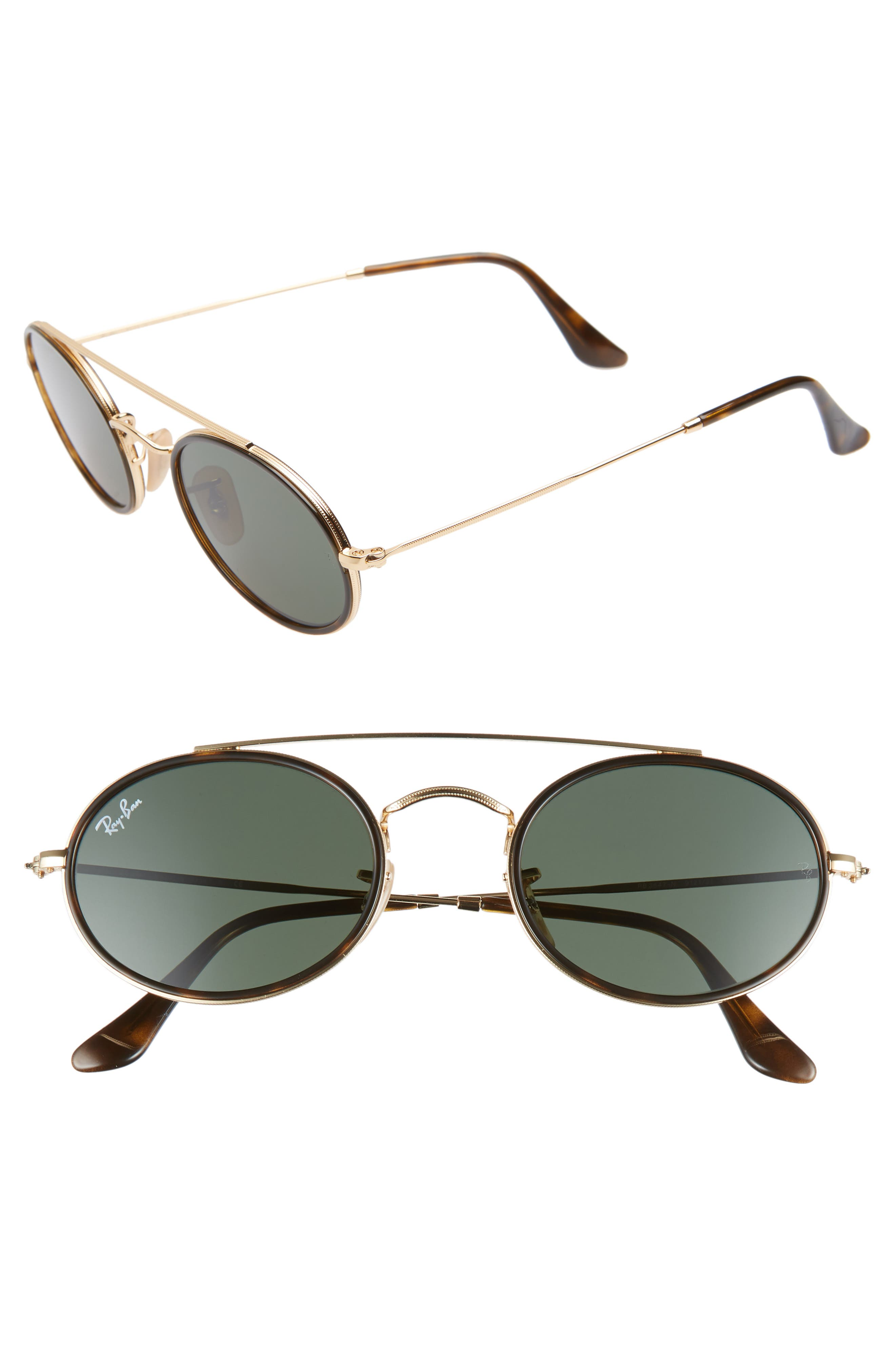 Ray-Ban Elite 52Mm Oval Sunglasses - Gold/ Dark Green Solid