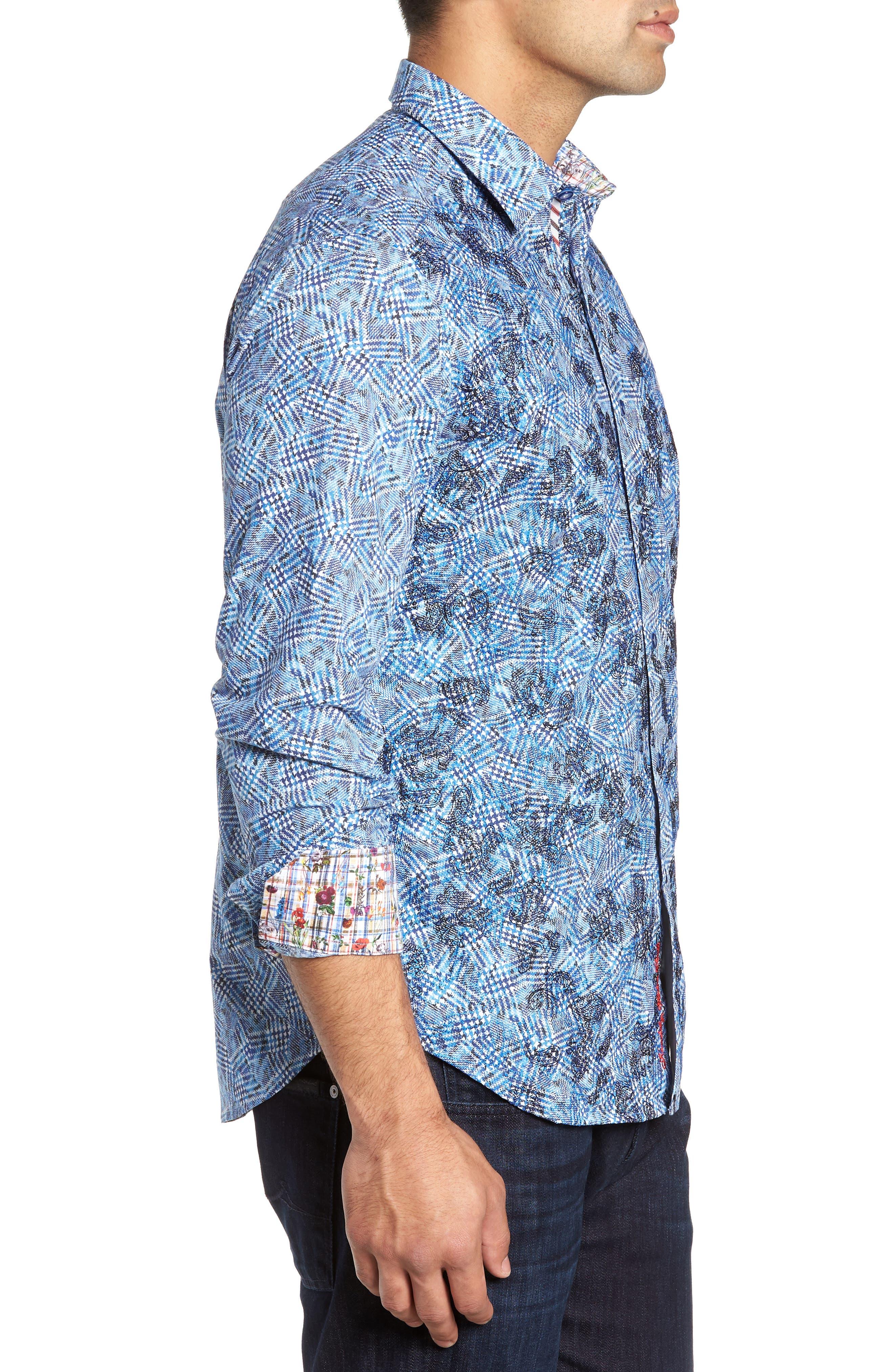 Hutchinson Classic Fit Print Sport Shirt,                             Alternate thumbnail 4, color,                             BLUE