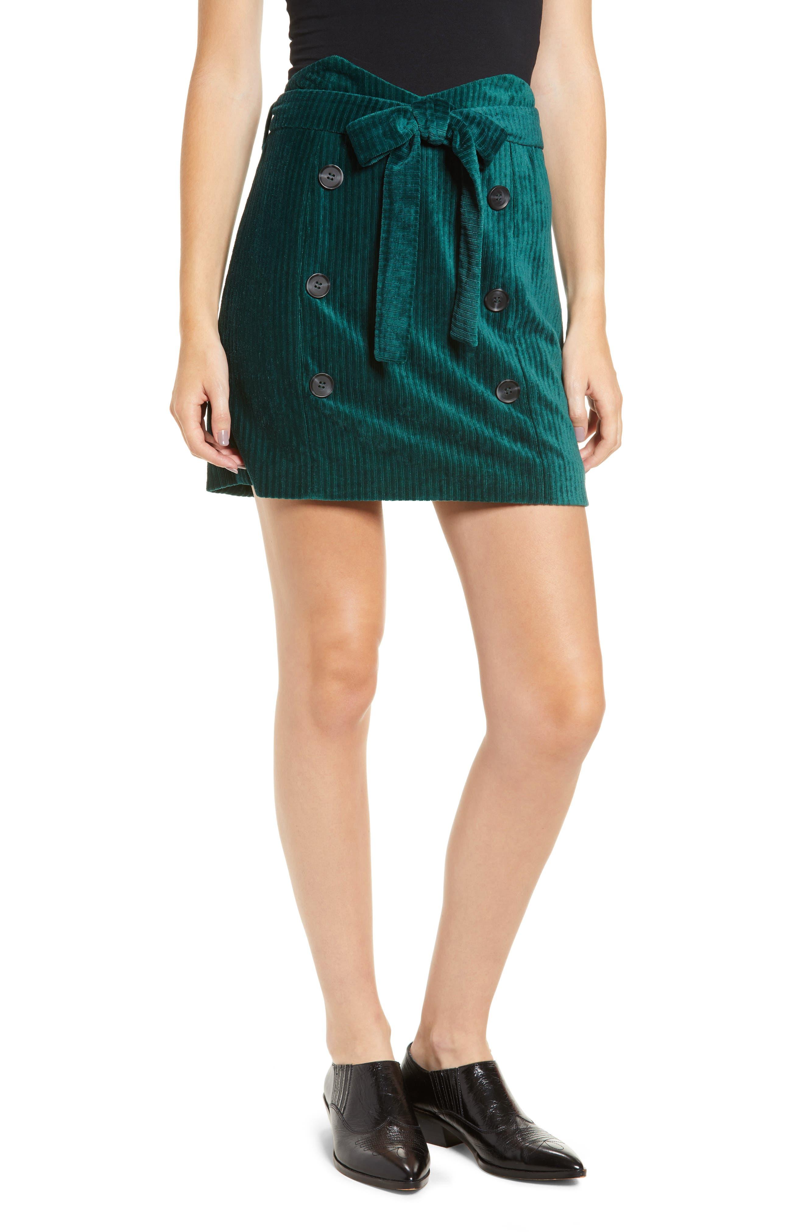 Velour Tie Waist Skirt,                             Main thumbnail 1, color,                             PINE