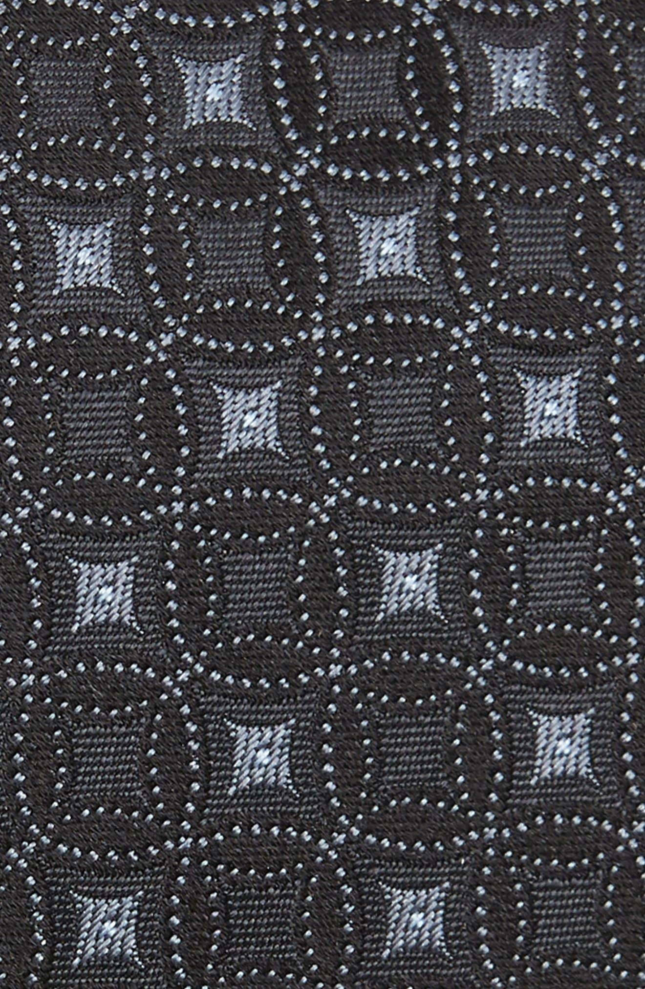 Medallion Silk Tie,                             Alternate thumbnail 2, color,                             BLACK
