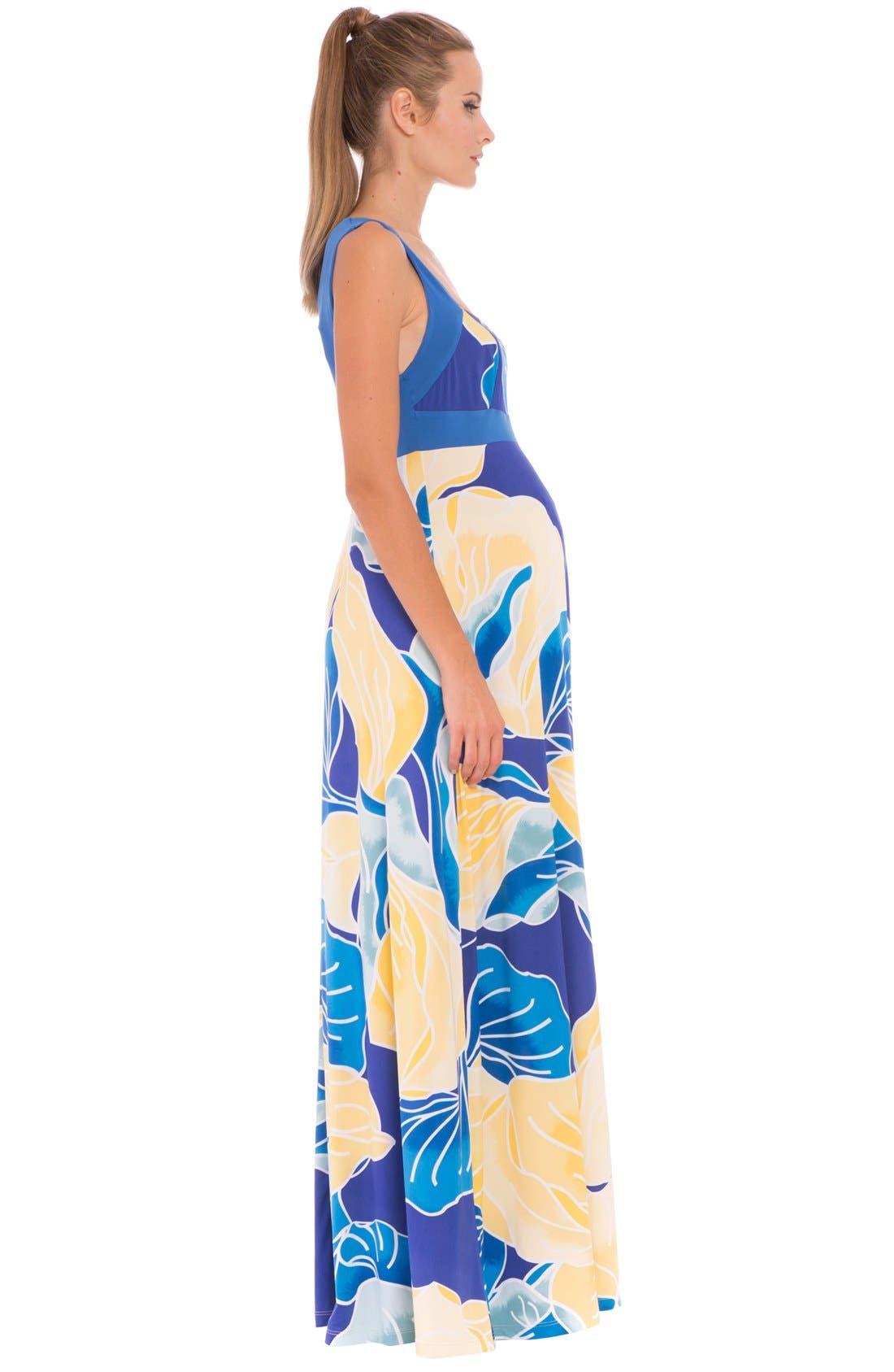 'Sharon' Maternity Maxi Dress,                             Alternate thumbnail 3, color,                             AQUA