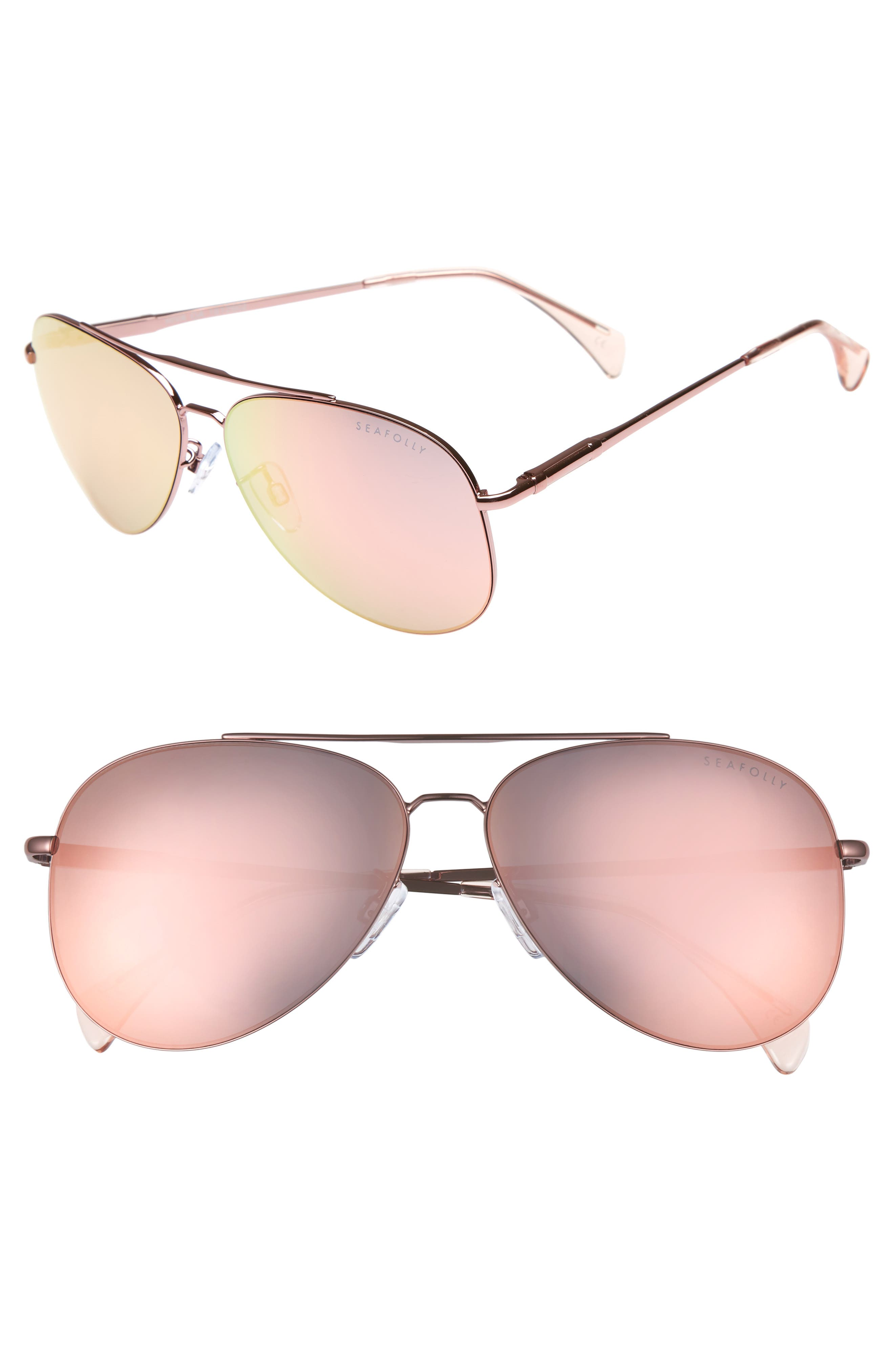 Hiva Oa 58mm Aviator Sunglasses,                         Main,                         color, BALLET