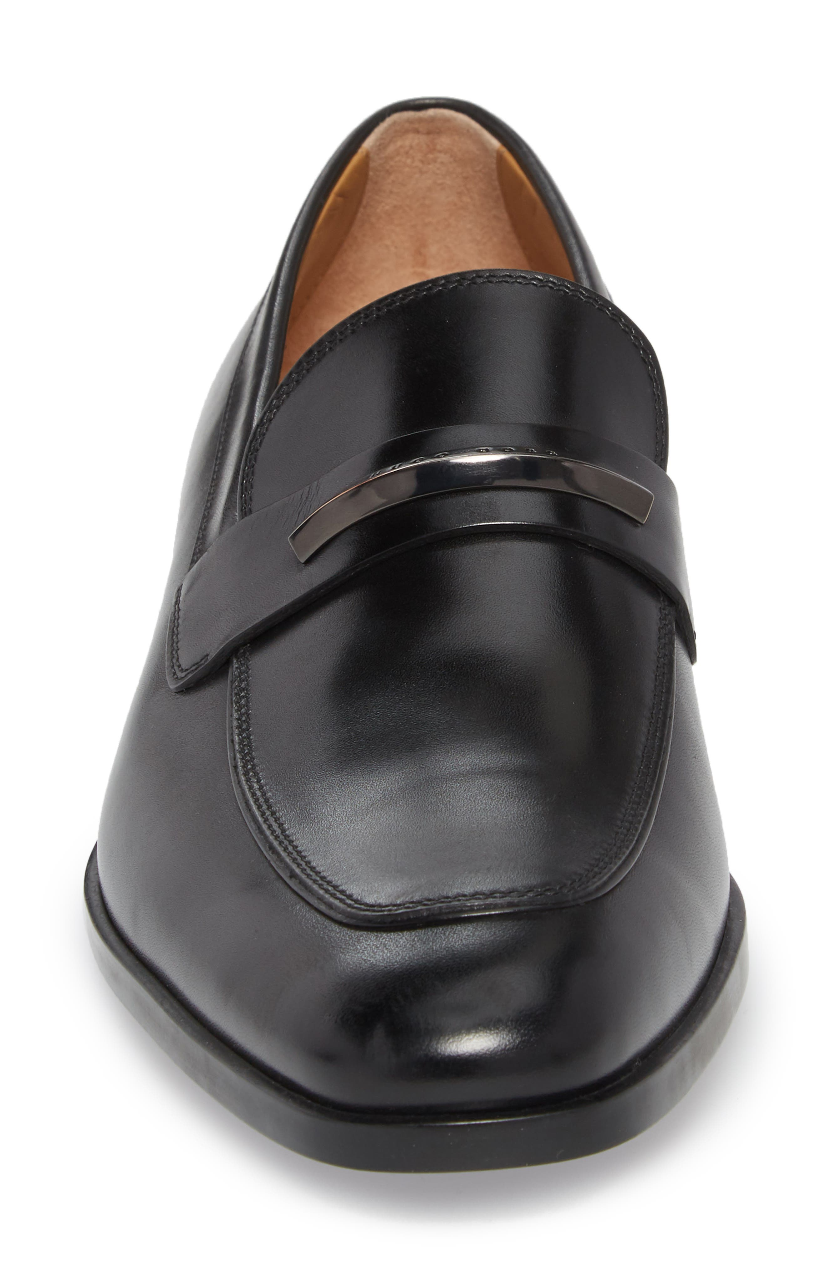 Hugo Boss Portland Solid Bit Loafer,                             Alternate thumbnail 4, color,                             BLACK LEATHER