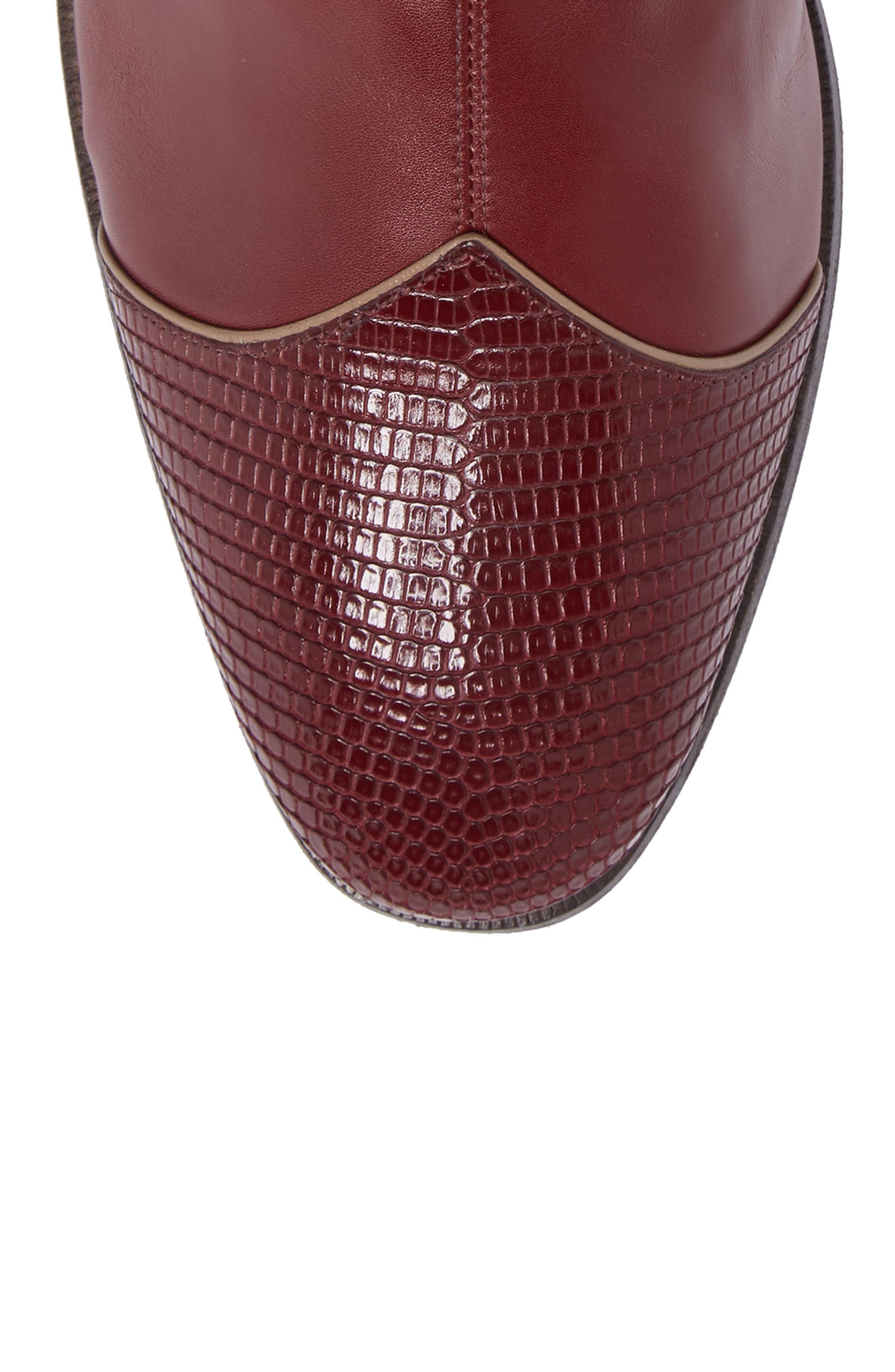 Dragon Leather Boot,                             Alternate thumbnail 5, color,                             BORDEAUX