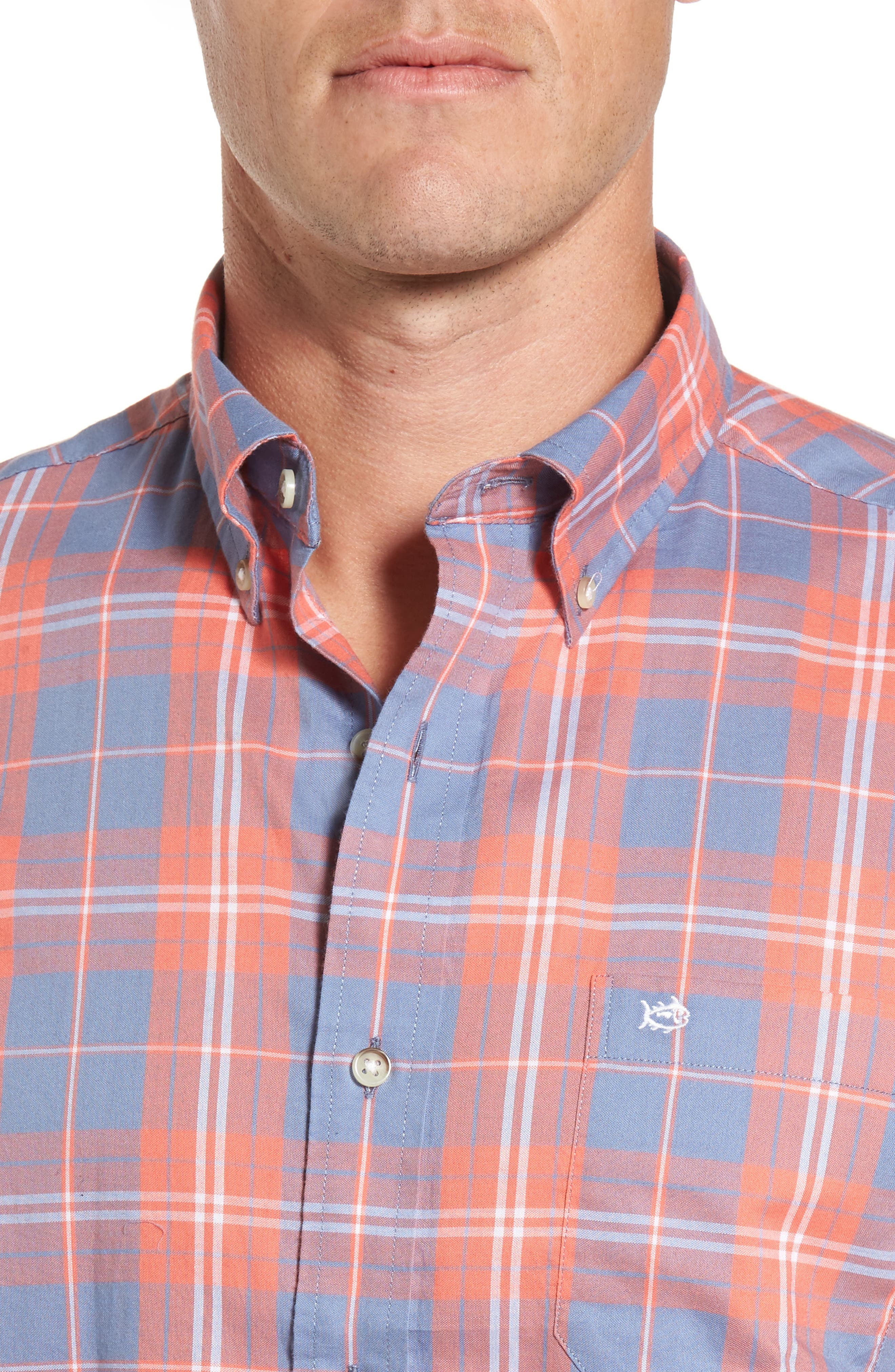 Charleston Station Slim Fit Plaid Sport Shirt,                             Alternate thumbnail 4, color,