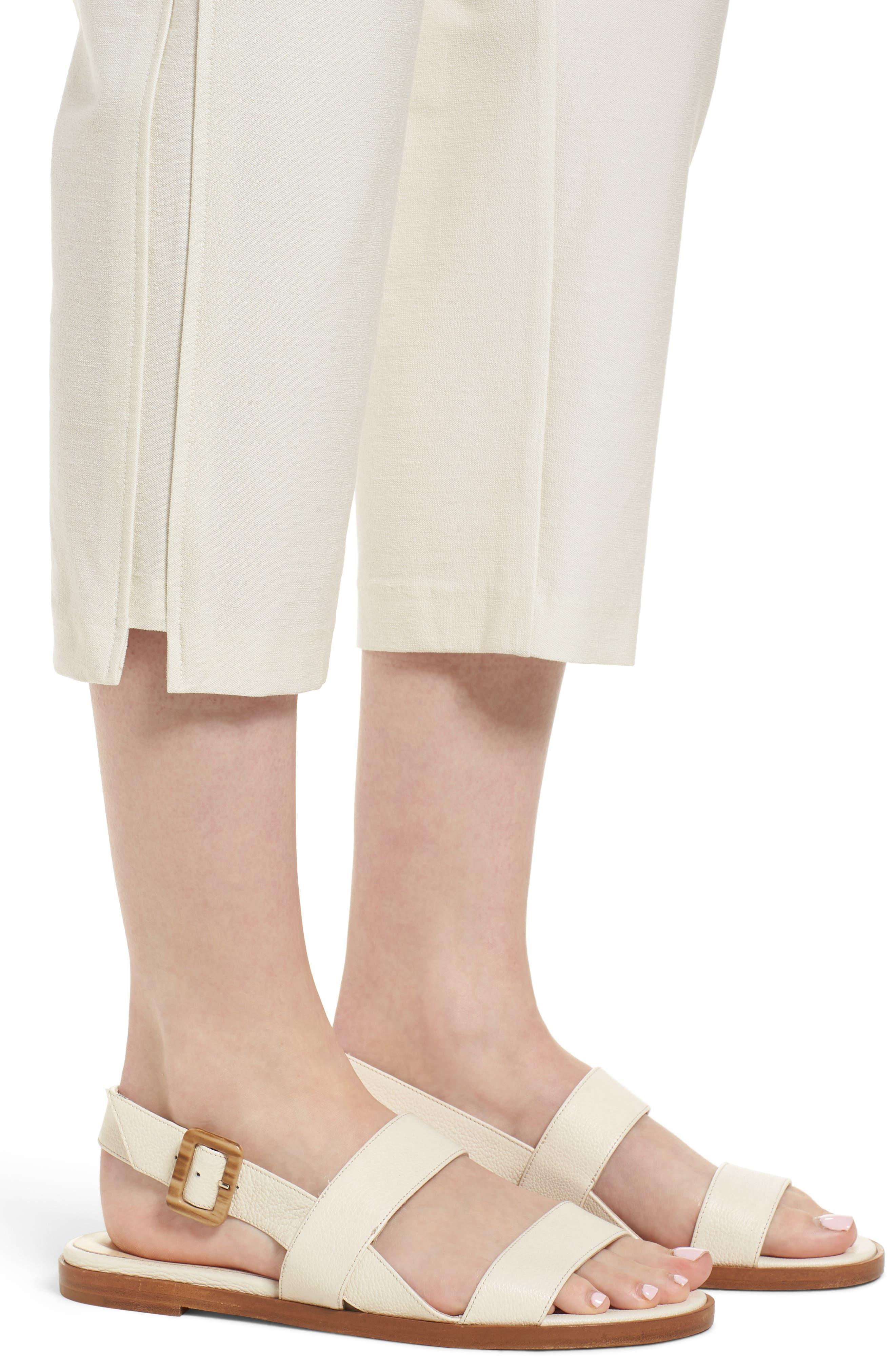Foldover Waist Stretch Crepe Capri Pants,                             Alternate thumbnail 4, color,                             907