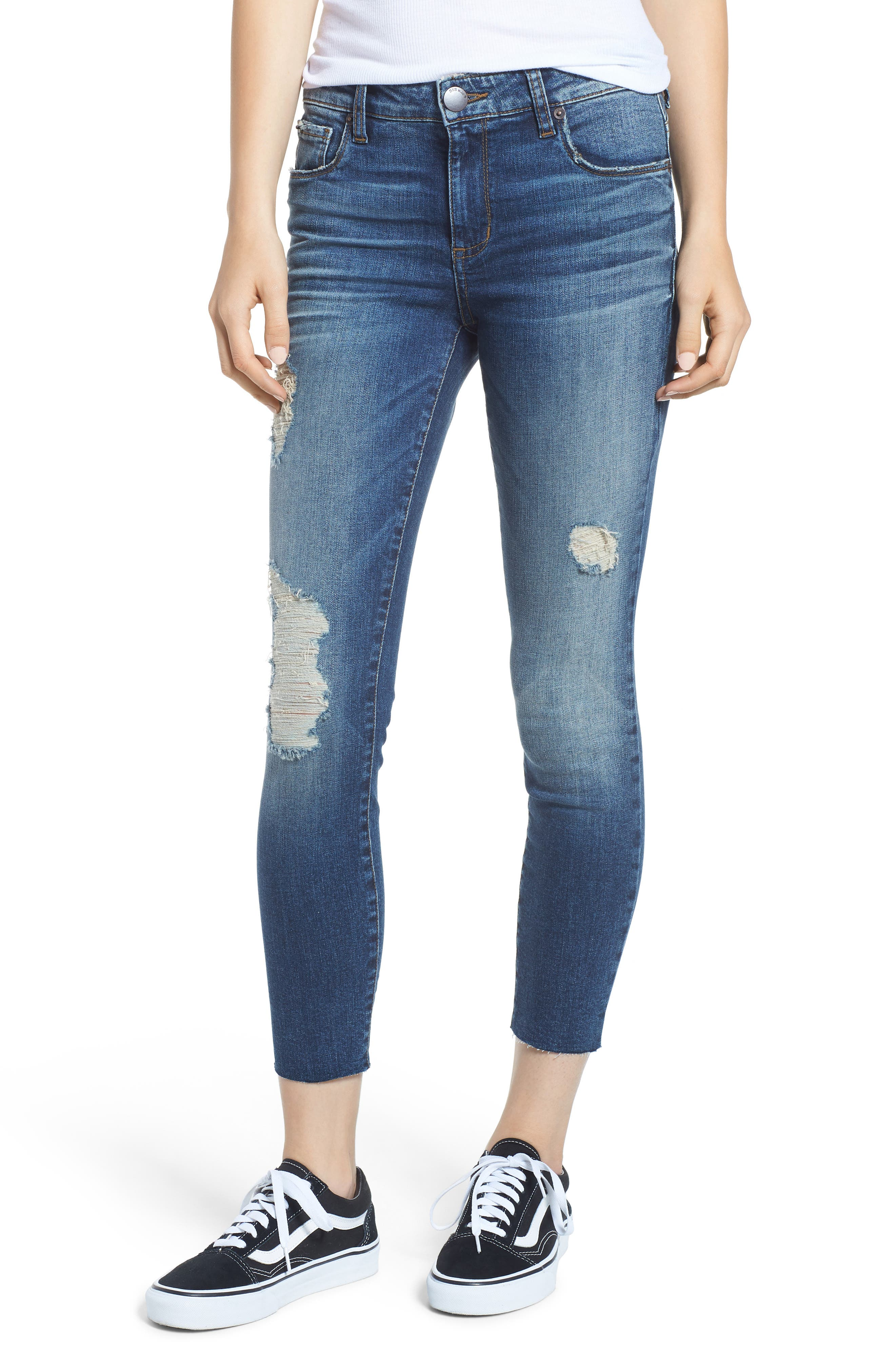 SWAT FAME Women's Sts Blue Ripped Cutoff Crop Skinny Jeans