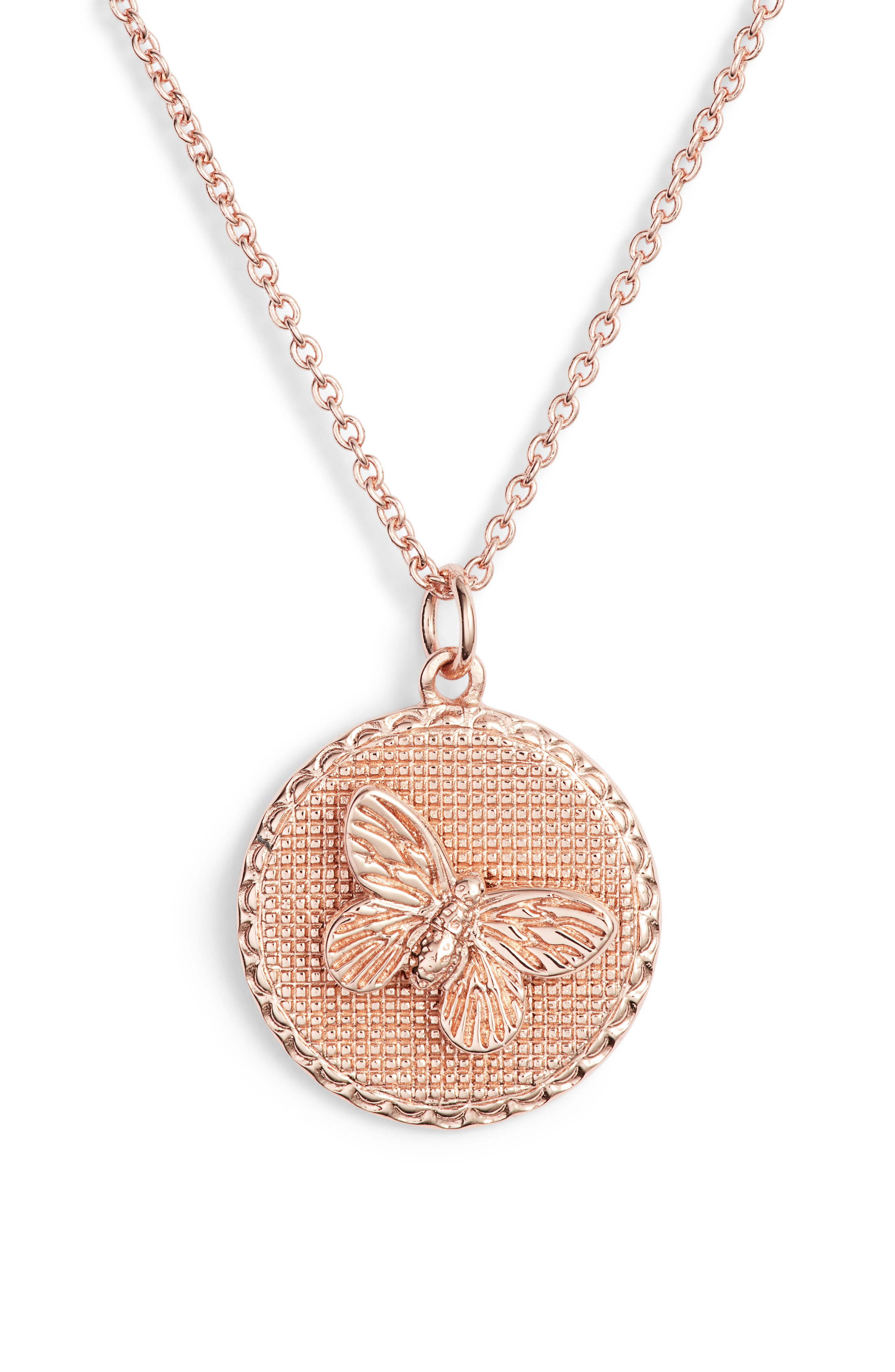 OLIVIA BURTON 3-D Butterfly Pendant Chain Necklace, 16 in Rose Gold
