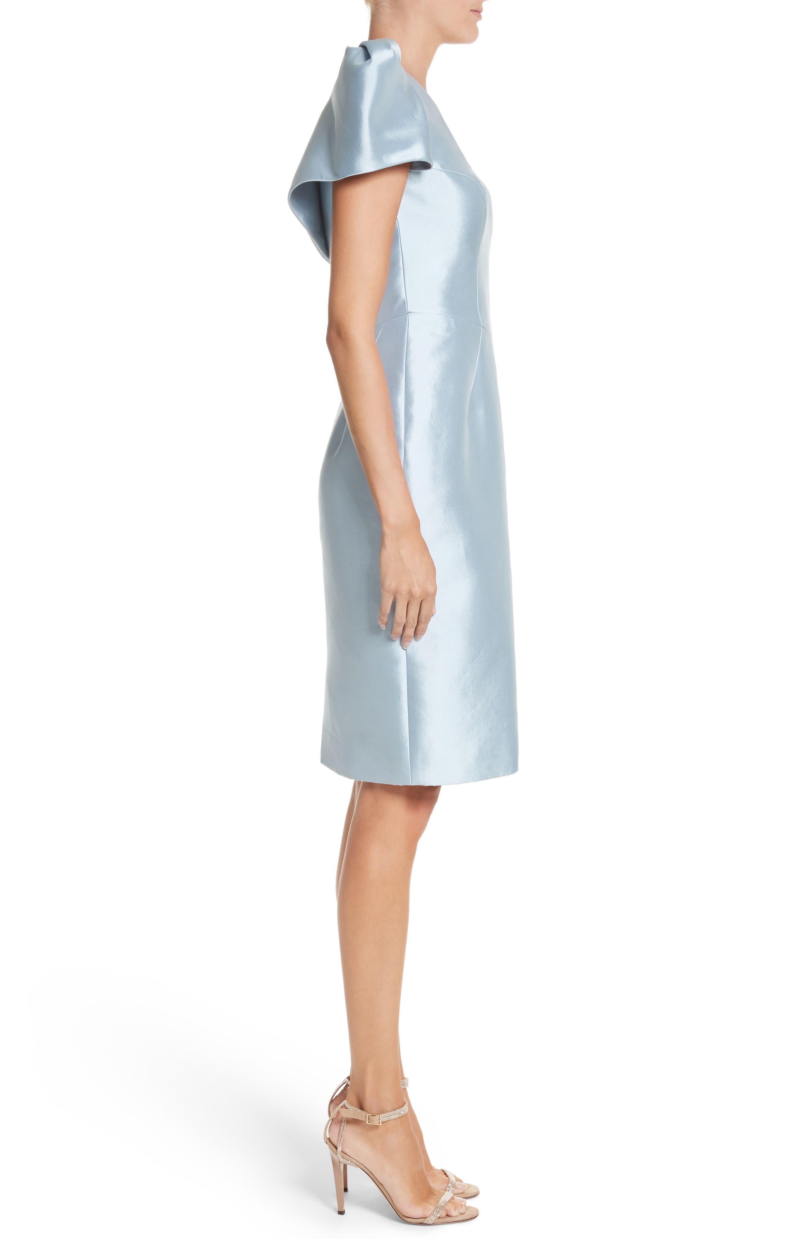 Puff Sleeve Silk Blend Sheath Dress,                             Alternate thumbnail 3, color,                             450
