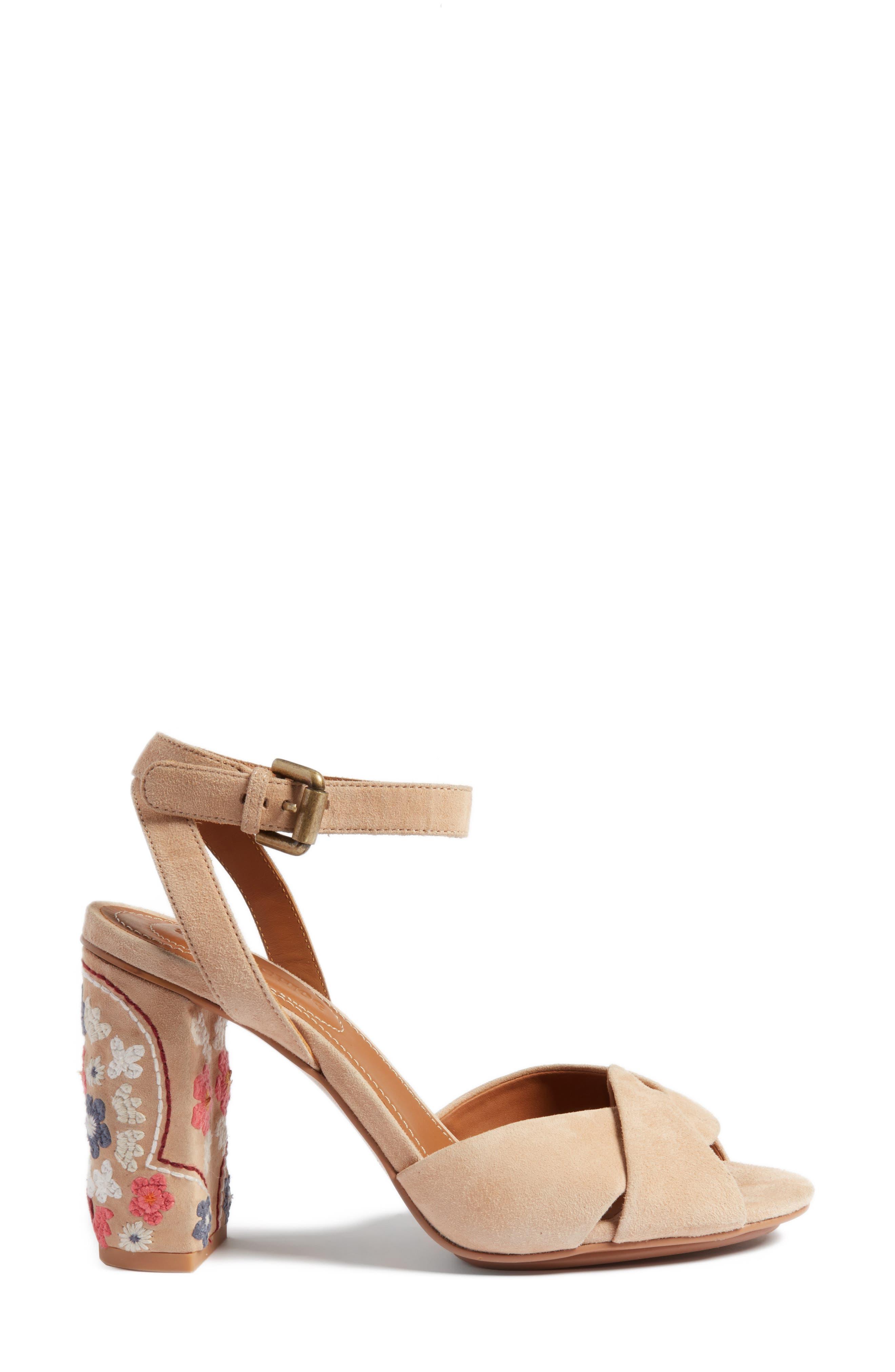 Gayla Embroidered Block Heel Sandal,                             Alternate thumbnail 3, color,                             250