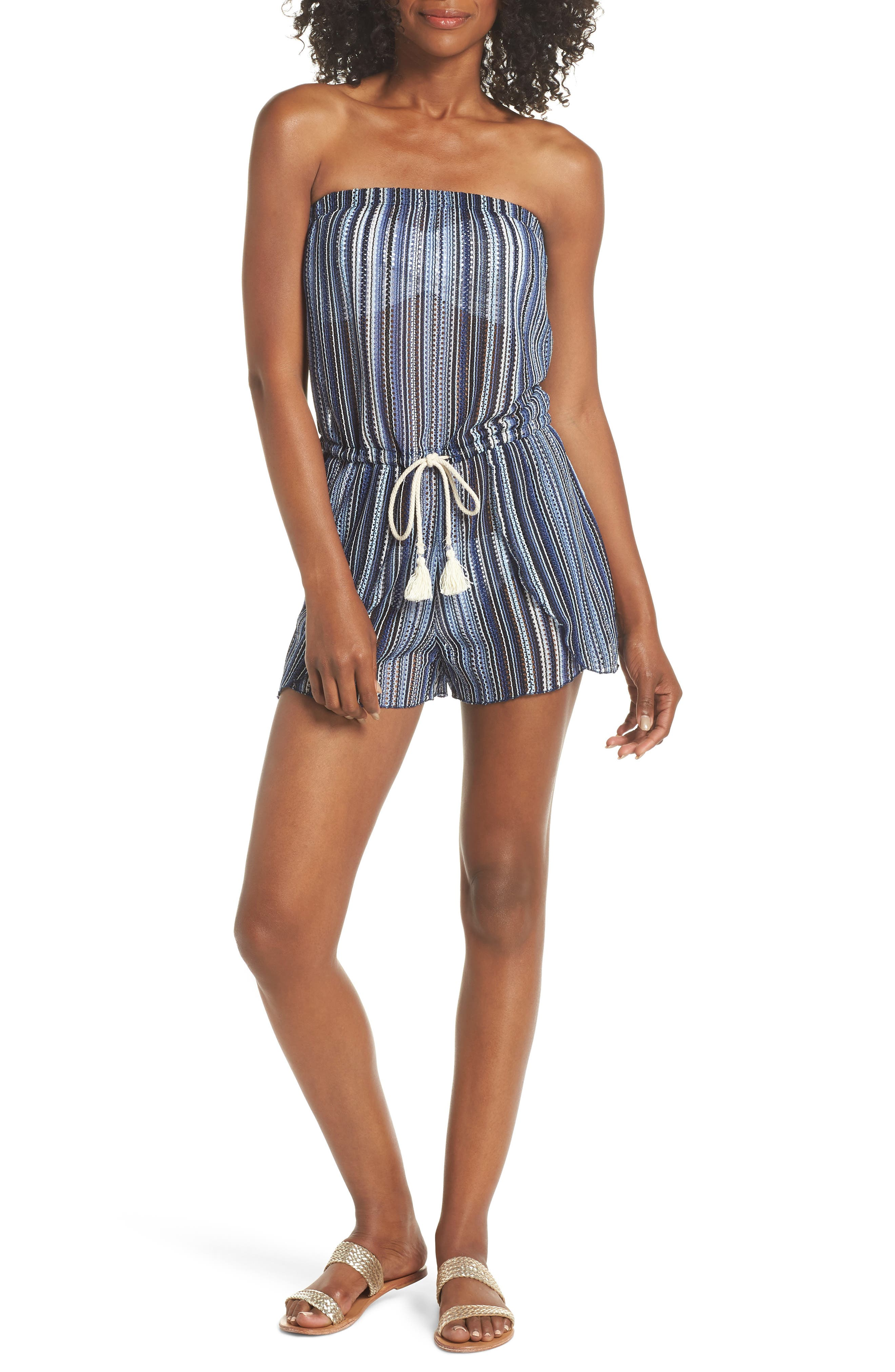 Becca Pierside Cover-Up Romper, Blue