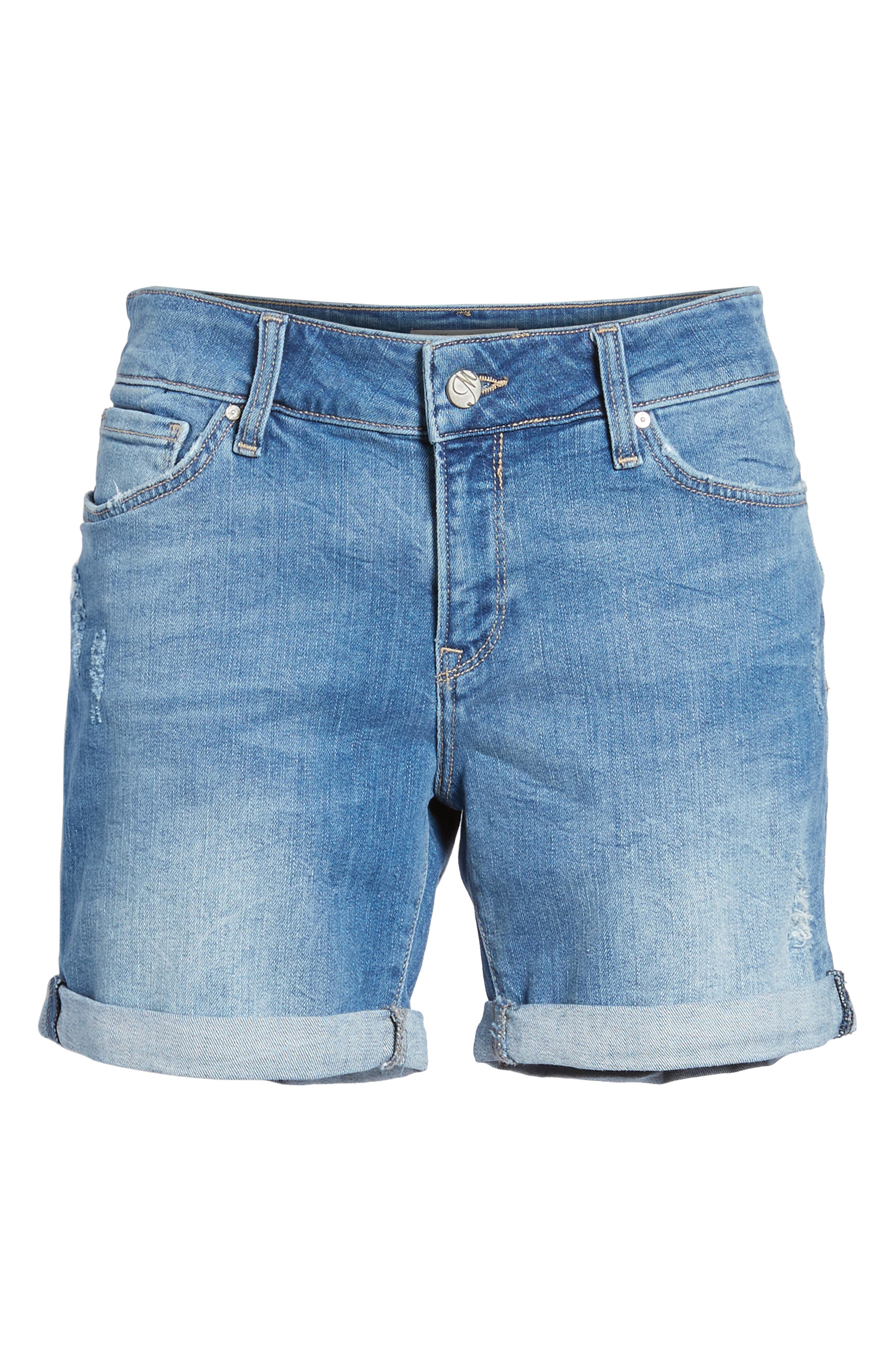 Pixie Denim Boyfriend Shorts,                             Alternate thumbnail 7, color,                             DISTRESSED VINTAGE