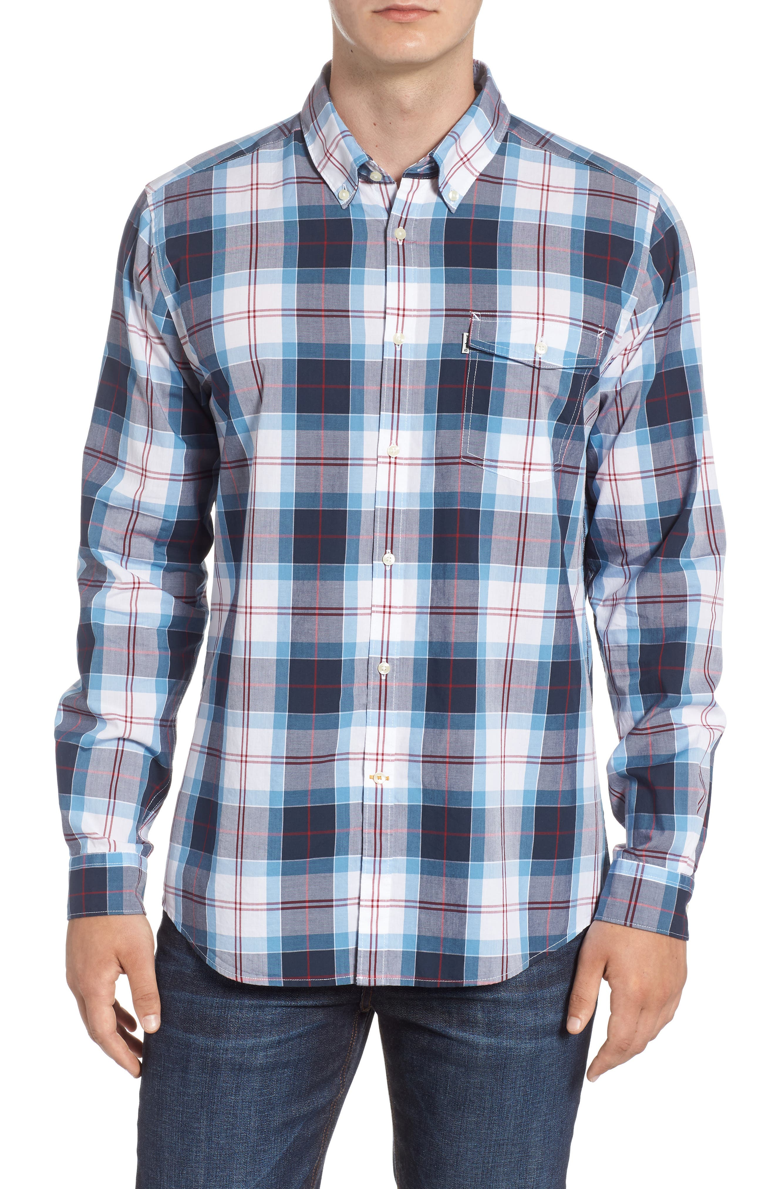 Cabin Tailored Fit Plaid Sport Shirt,                         Main,                         color, MID BLUE