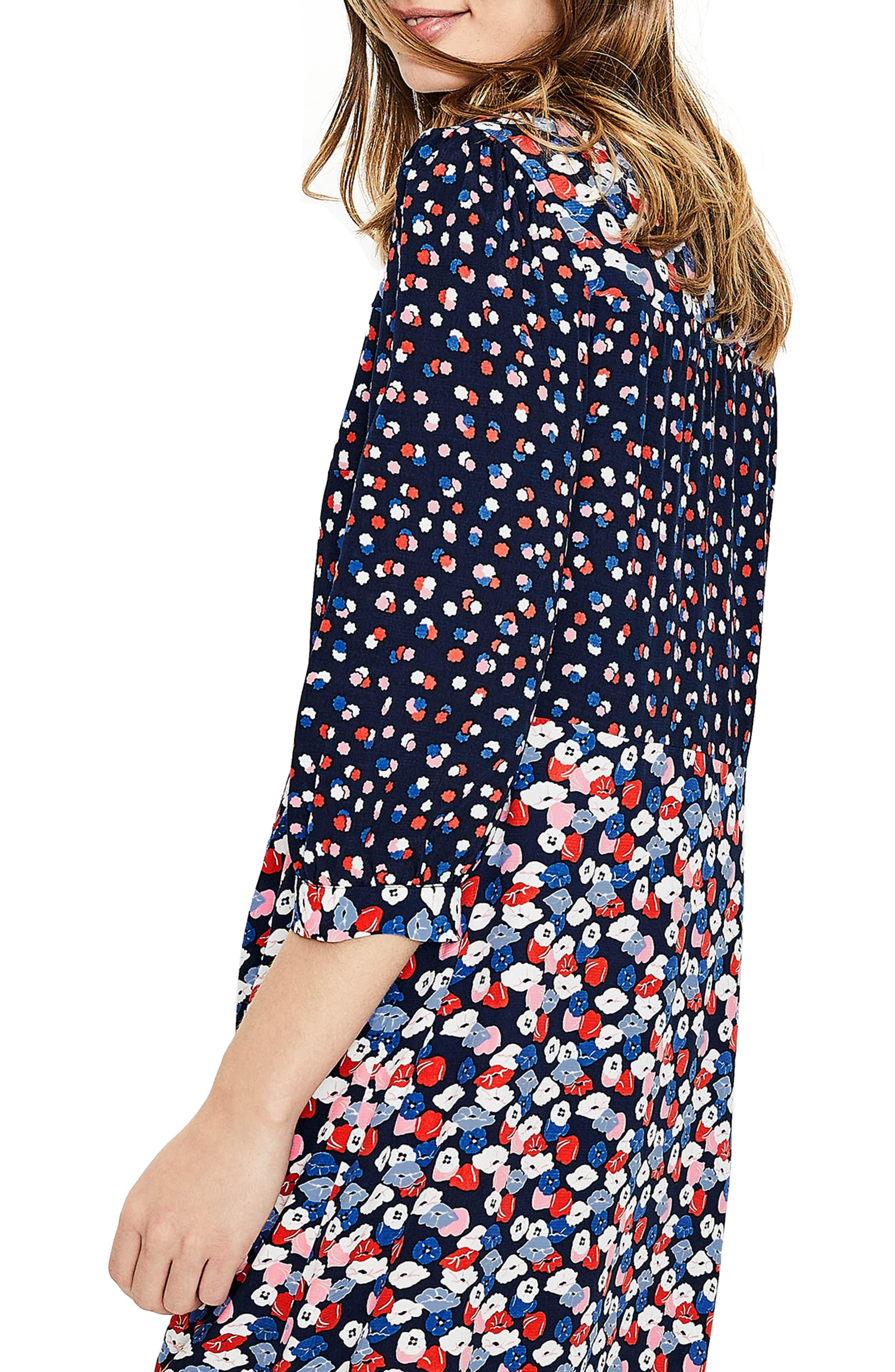 Hotchpotch Pattern Mix Pintuck Dress,                             Alternate thumbnail 4, color,                             486