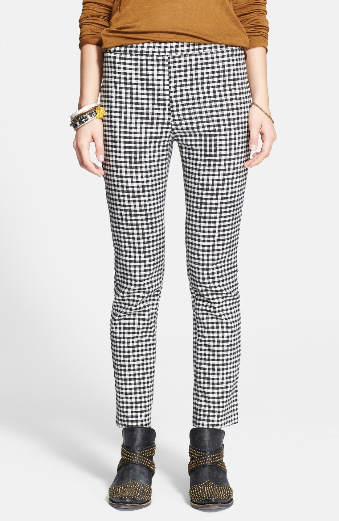 High Rise Gingham Crop Pants,                             Main thumbnail 1, color,                             001