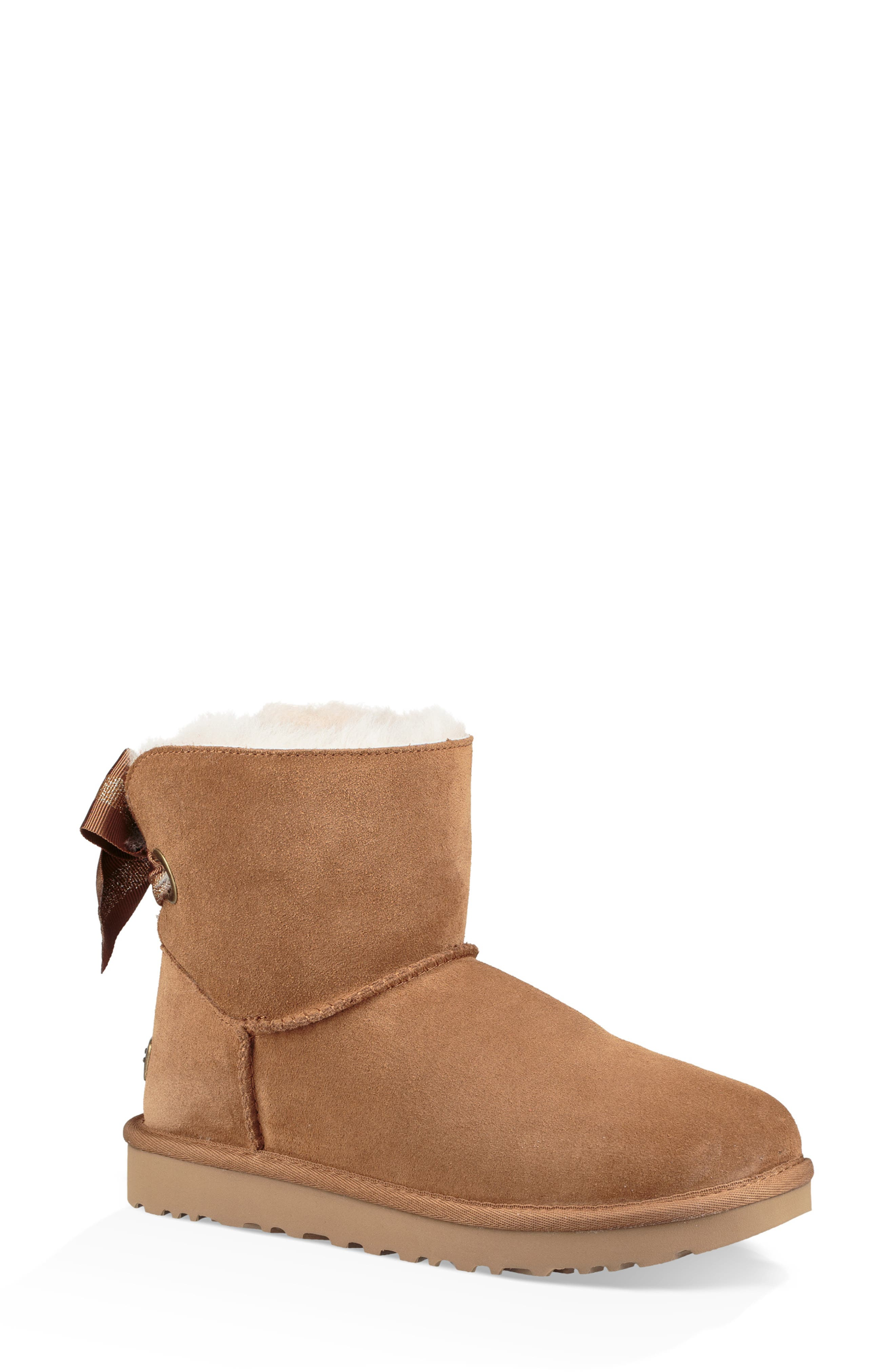 Customizable Bailey Bow Mini Genuine Shearling Bootie,                             Main thumbnail 1, color,                             CHESTNUT SUEDE