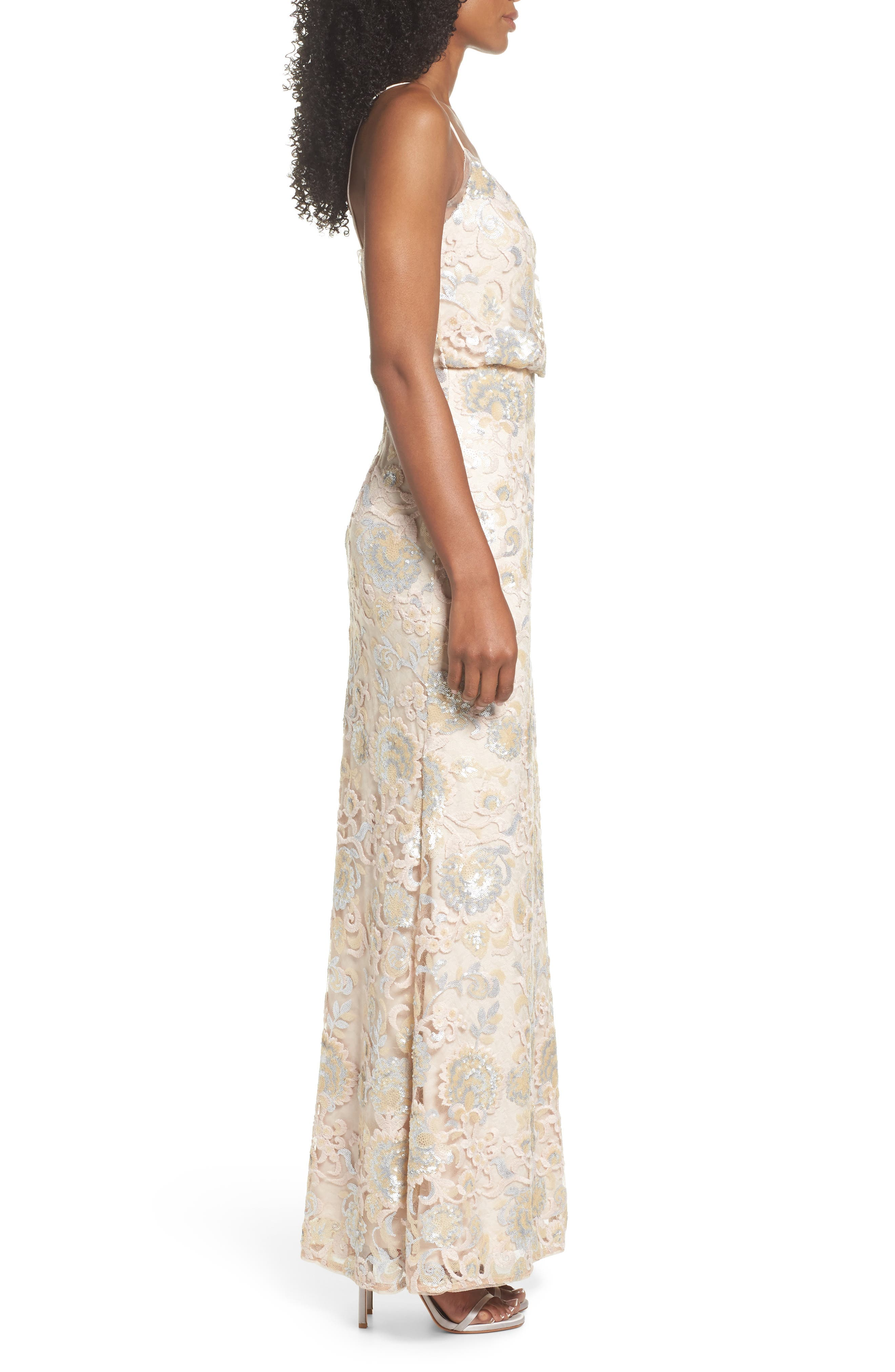 Sequin Embellished Blouson Gown,                             Alternate thumbnail 3, color,