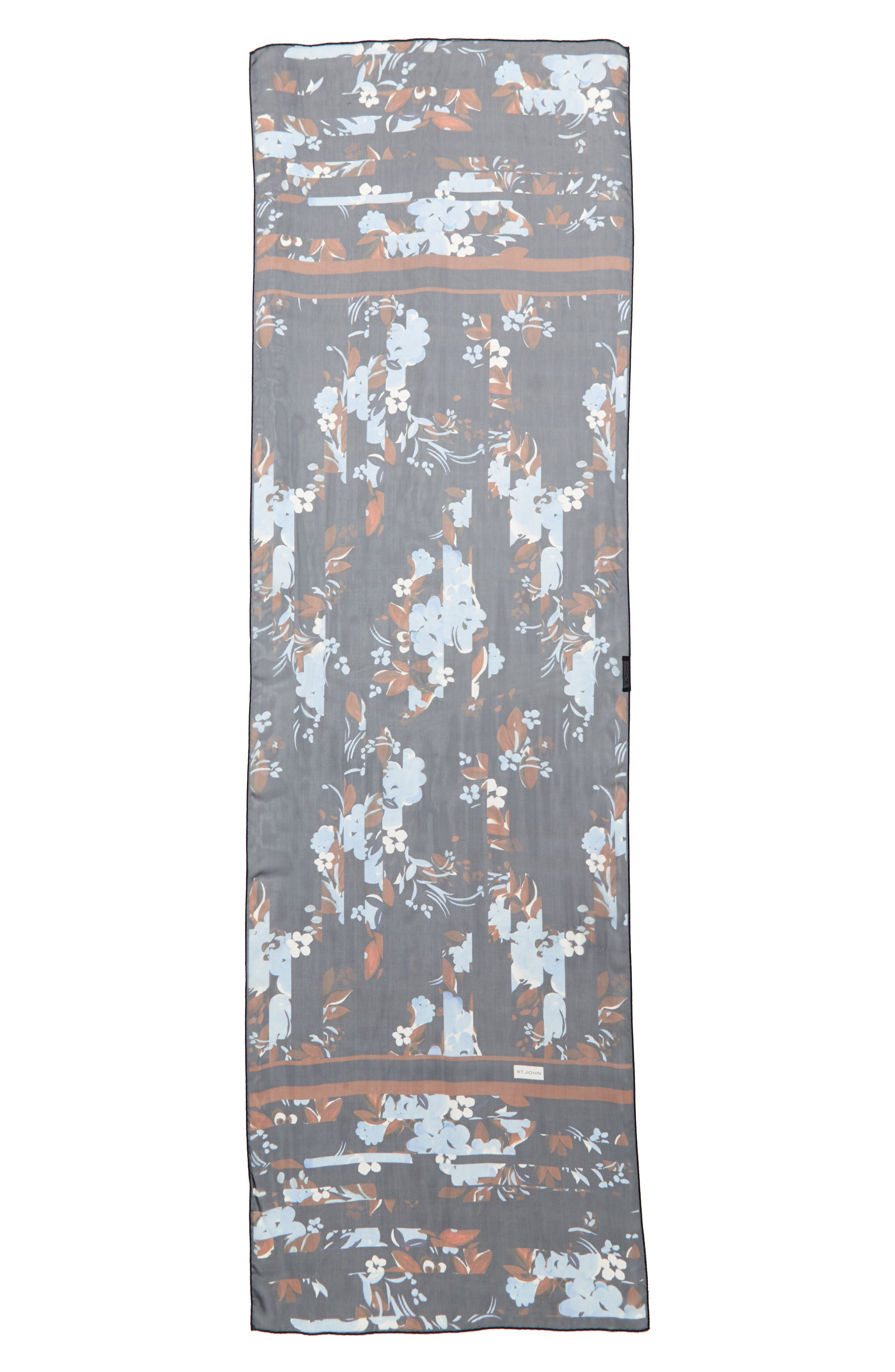 Painted Floral Print Silk Georgette Scarf,                             Main thumbnail 1, color,                             410