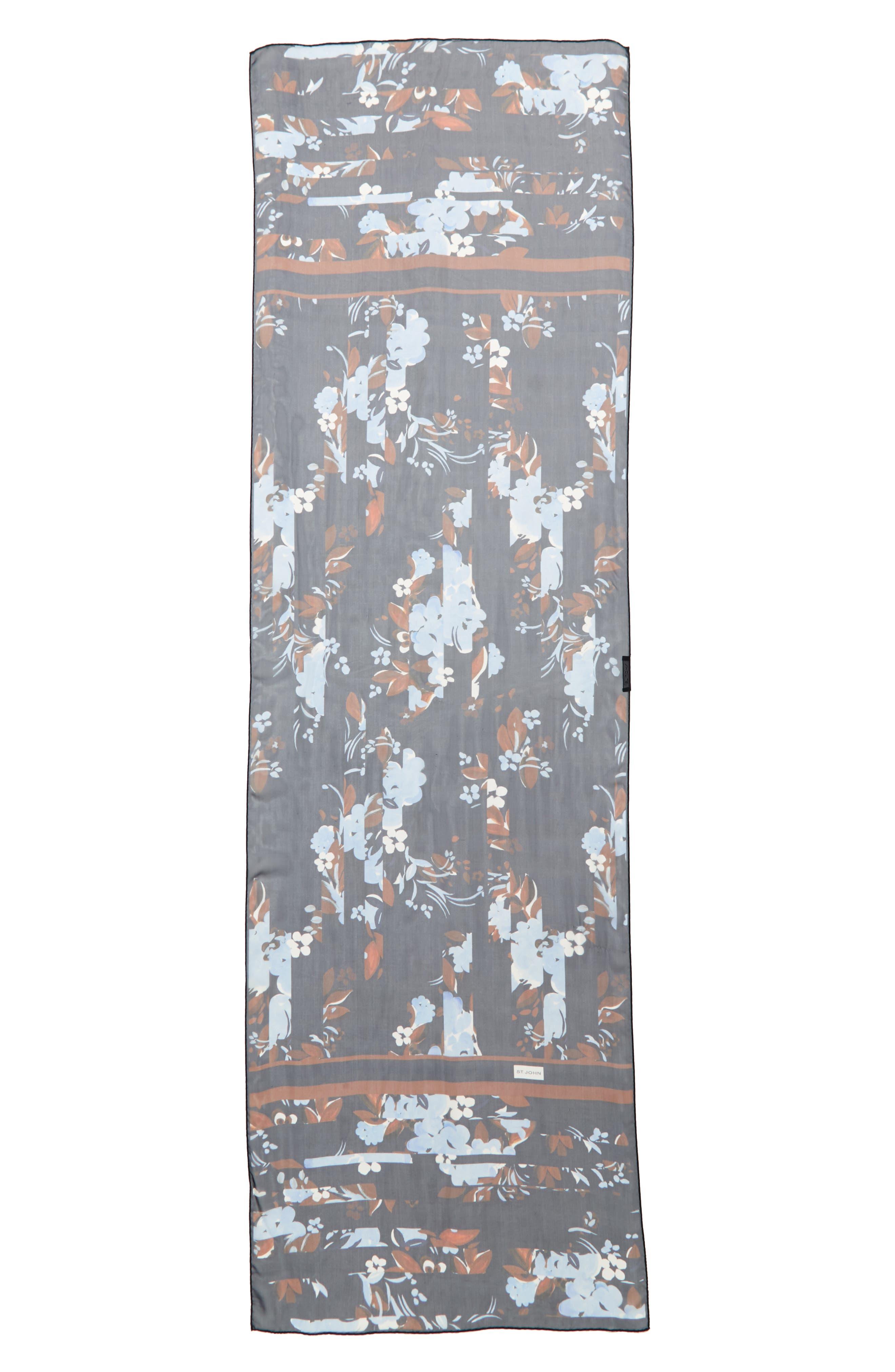 Painted Floral Print Silk Georgette Scarf,                         Main,                         color, 410
