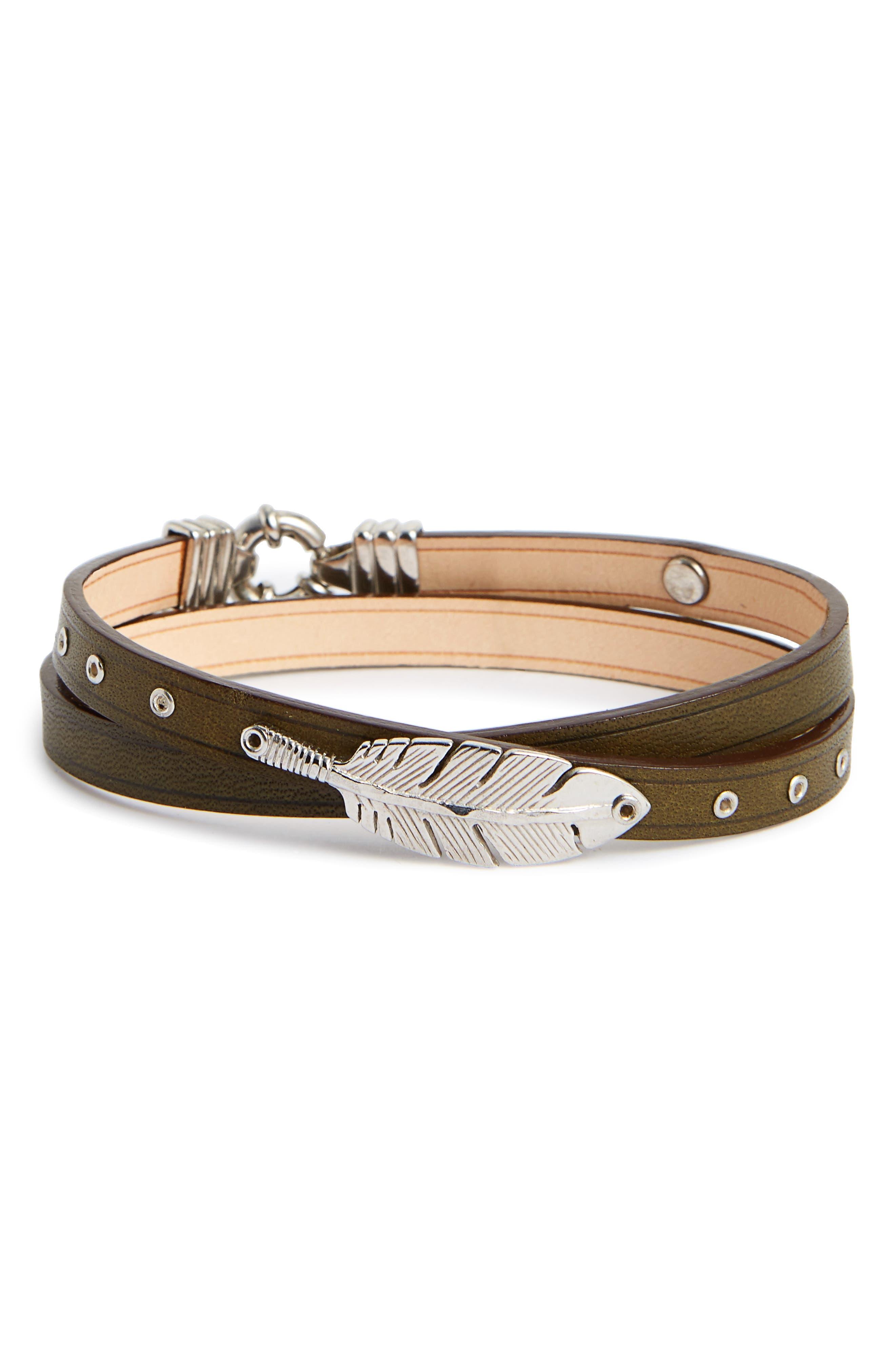 Penna Leather Wrap Bracelet,                         Main,                         color, 200