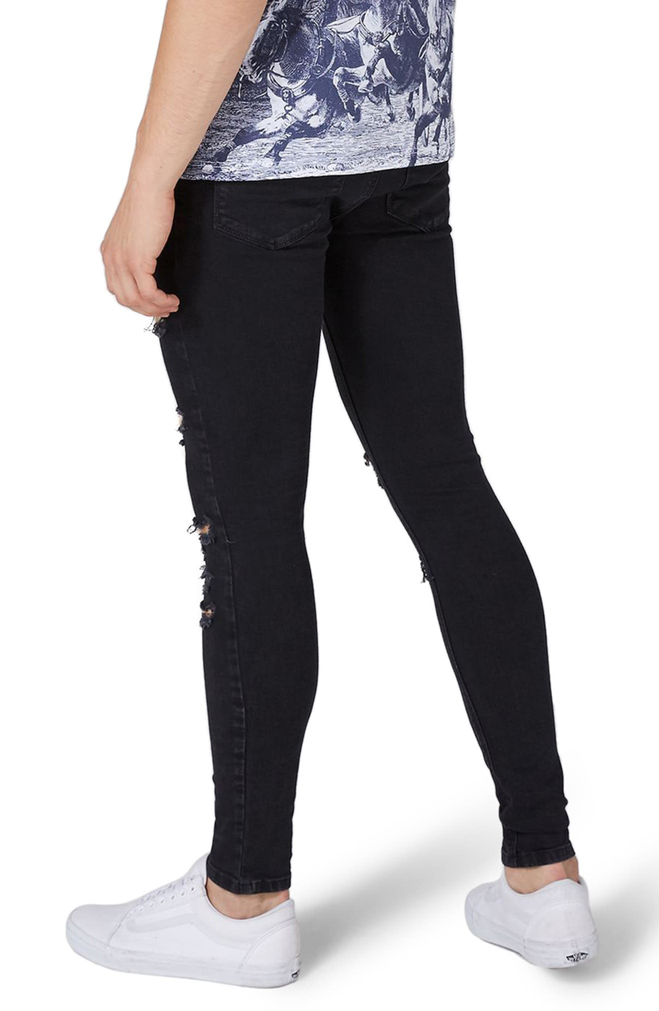 TOPMAN,                             Skinny Spray On Ripped Jeans,                             Alternate thumbnail 2, color,                             001