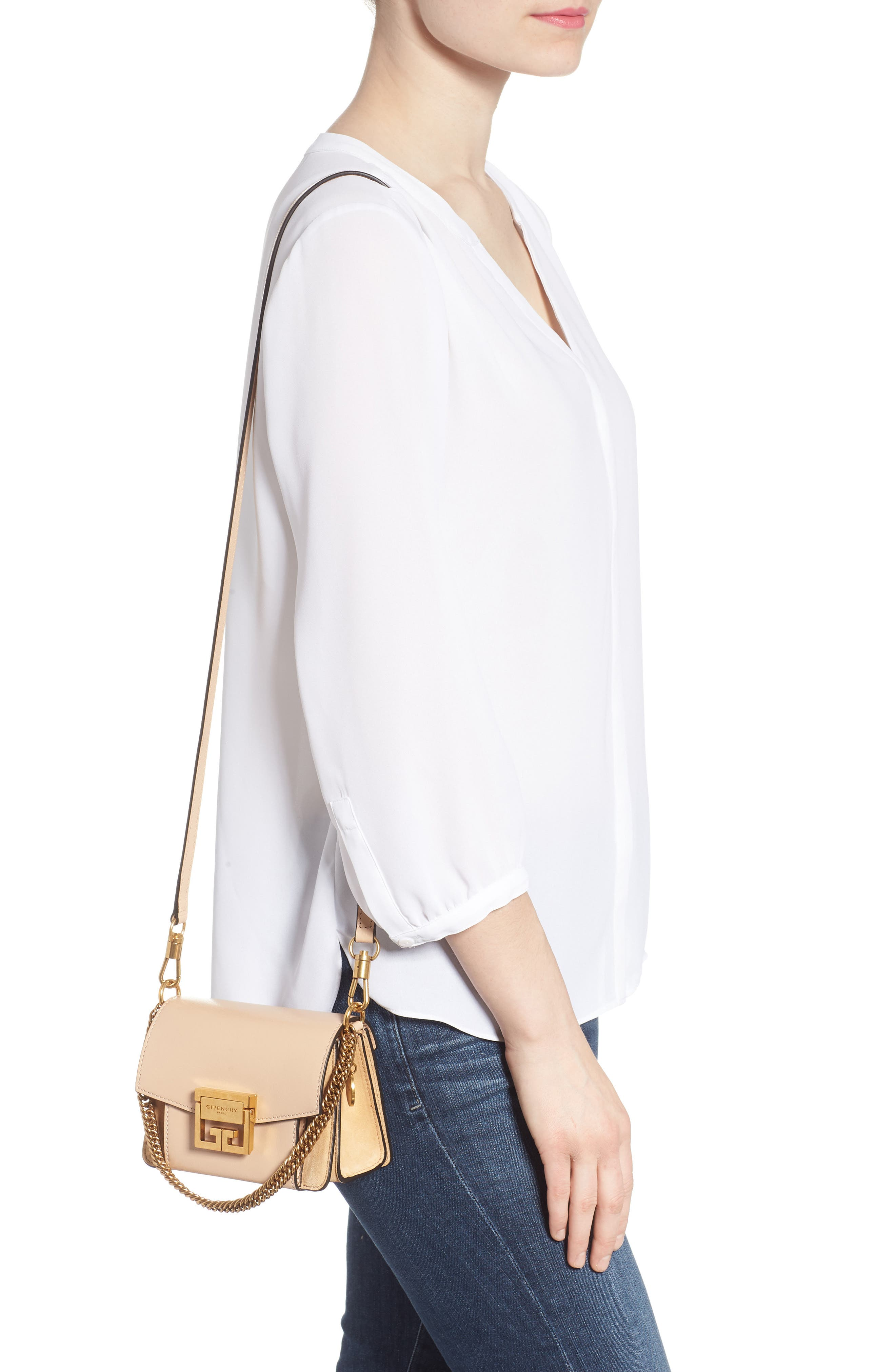 Mini GV3 Leather & Suede Crossbody Bag,                             Alternate thumbnail 2, color,                             NUDE/ LIGHT BEIGE