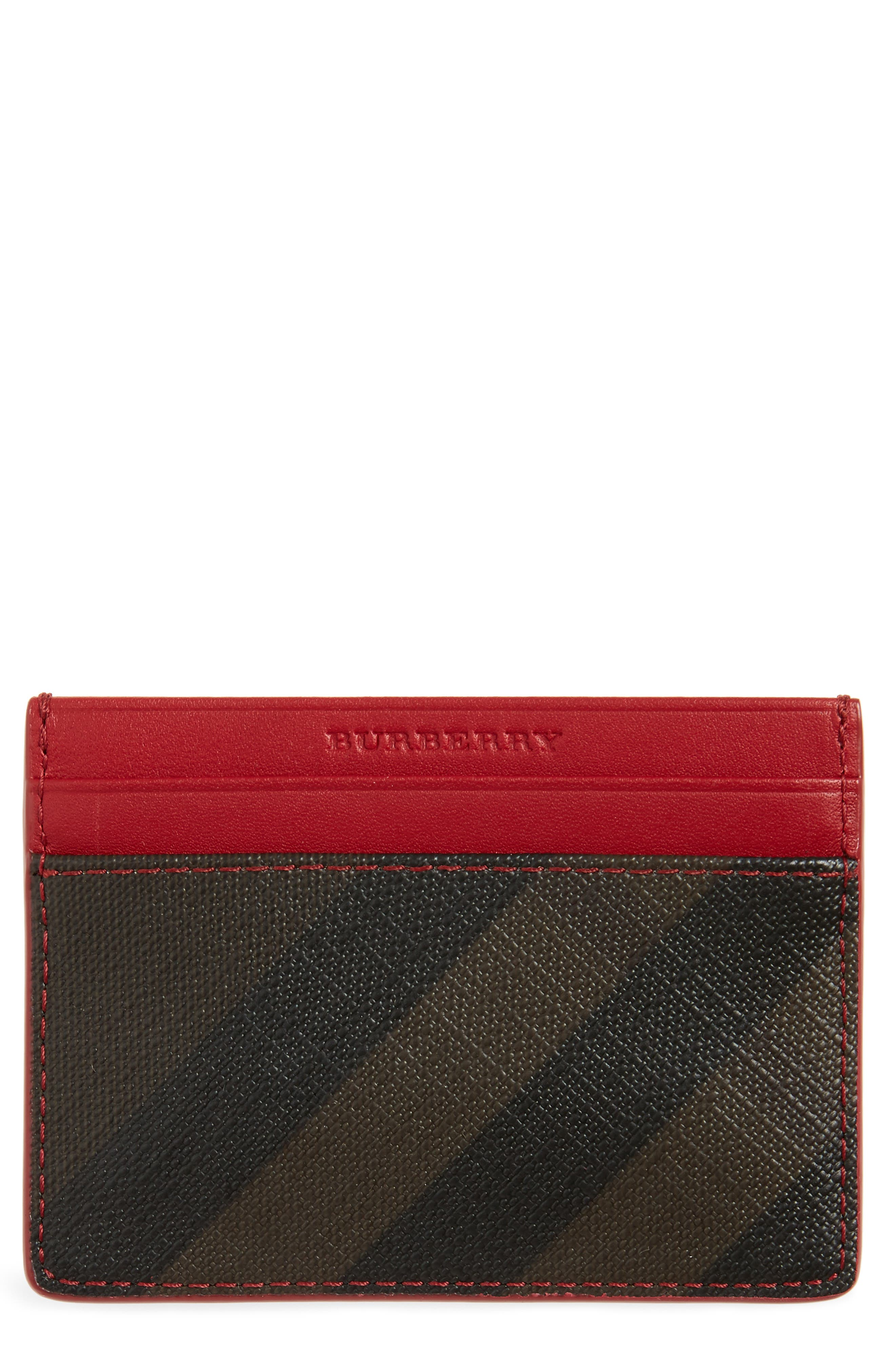 Check Faux Leather Card Case,                         Main,                         color, 207