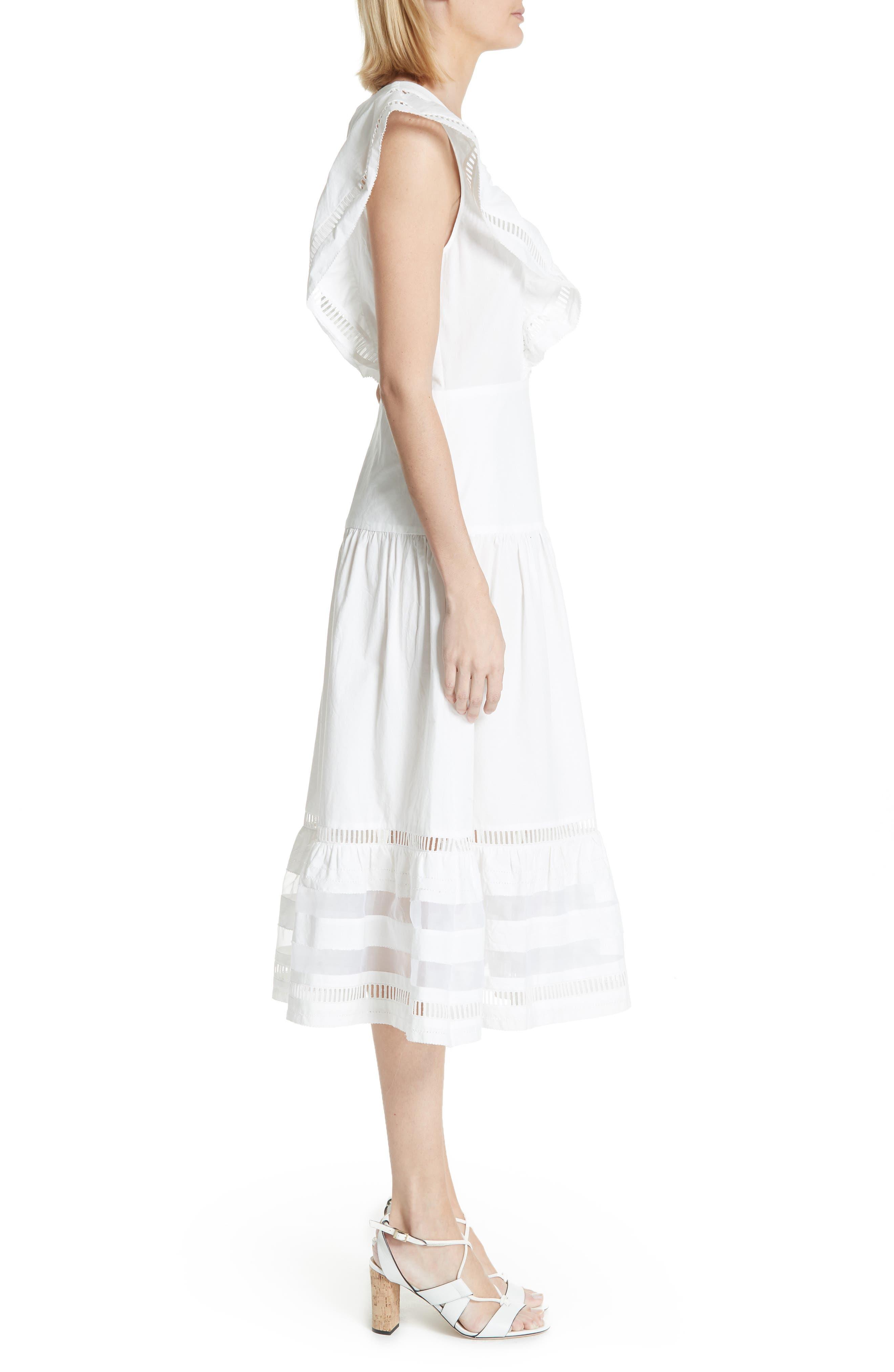 Capri Ladder Stitch Trim Midi Dress,                             Alternate thumbnail 3, color,                             903