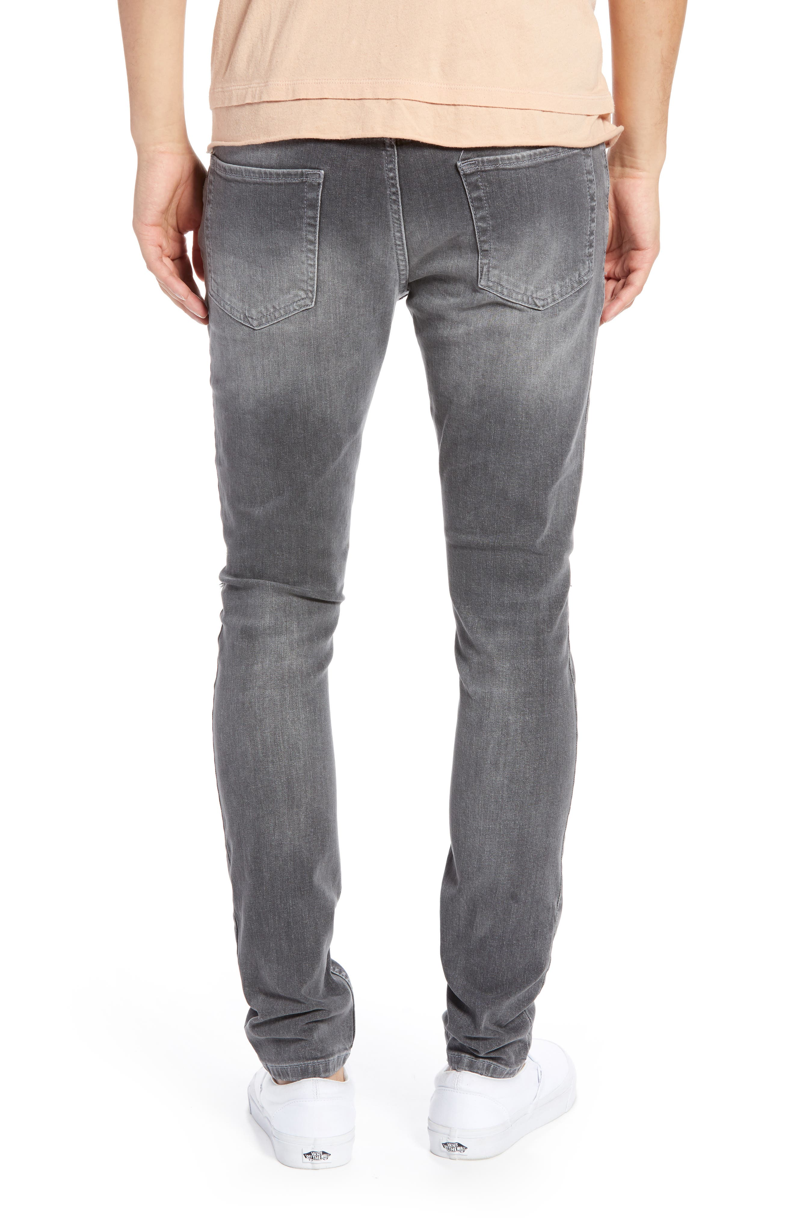 Ripped Stretch Skinny Fit Jeans,                             Alternate thumbnail 2, color,                             GREY