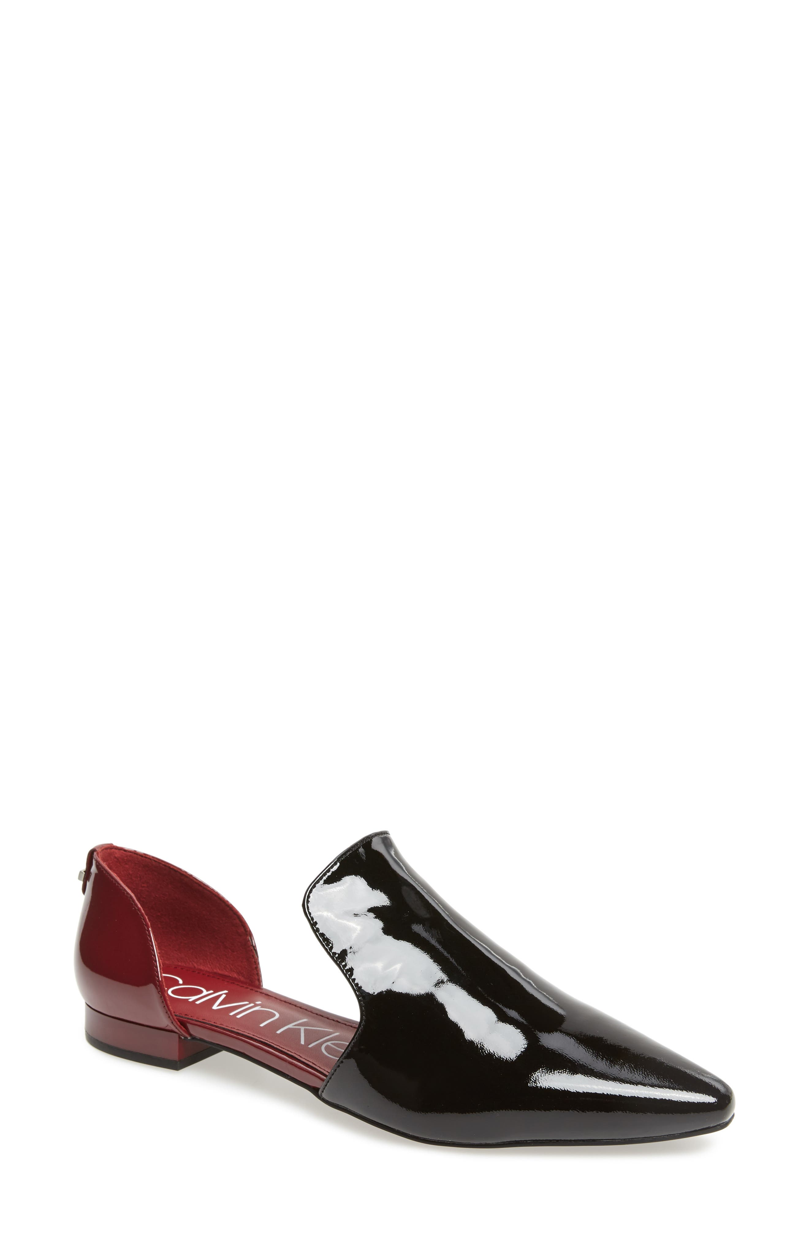 Edona Loafer Flat,                         Main,                         color, BLACK/ RED ROCK PATENT