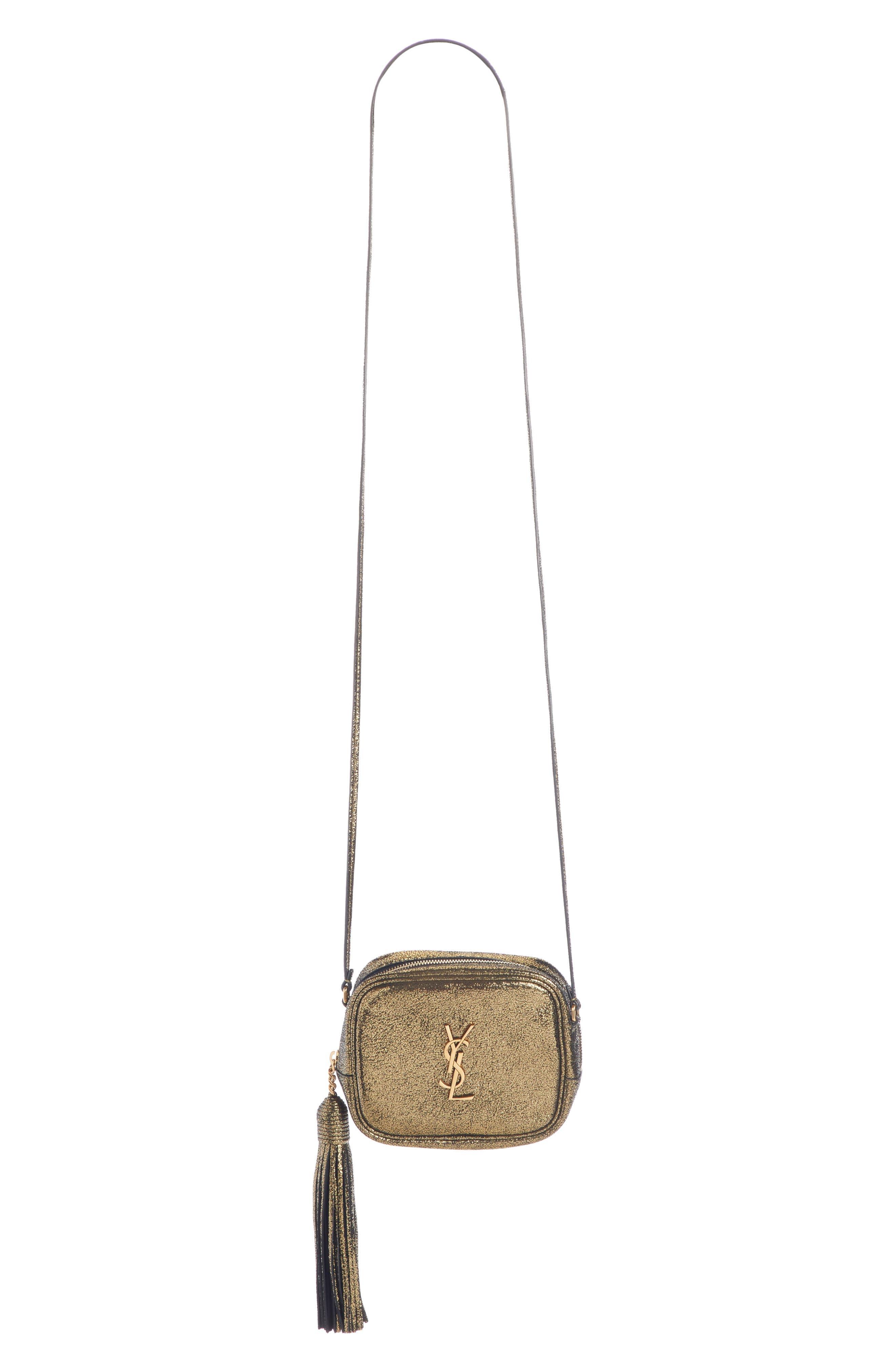 Mini Blogger Metallic Crackled Leather Crossbody Bag - Metallic in Dark Gold/ Noir