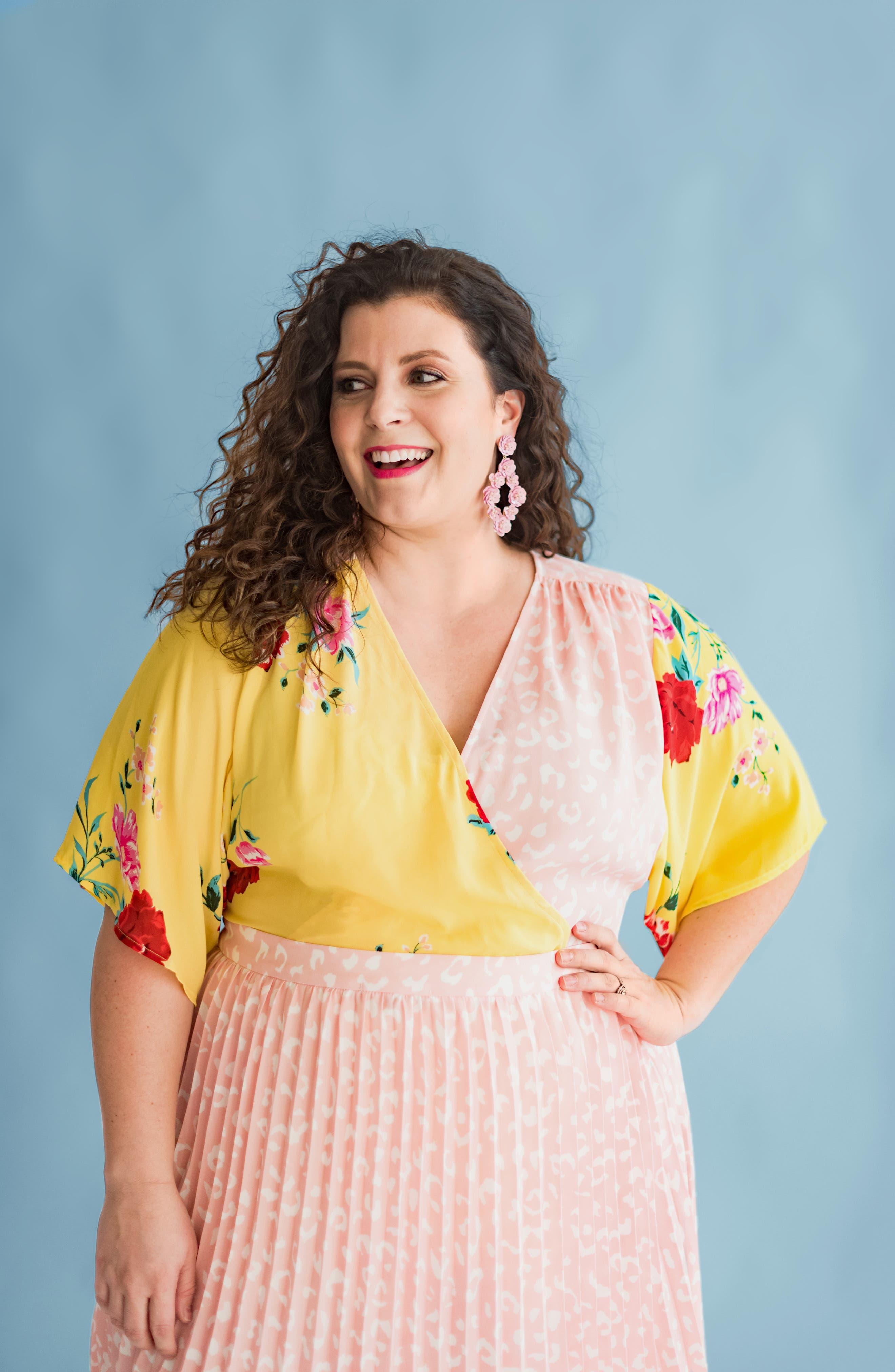 GIBSON,                             x International Women's Day Mindy Kimono Sleeve Wrap Blouse,                             Alternate thumbnail 7, color,                             VIRGINIA BLOOM