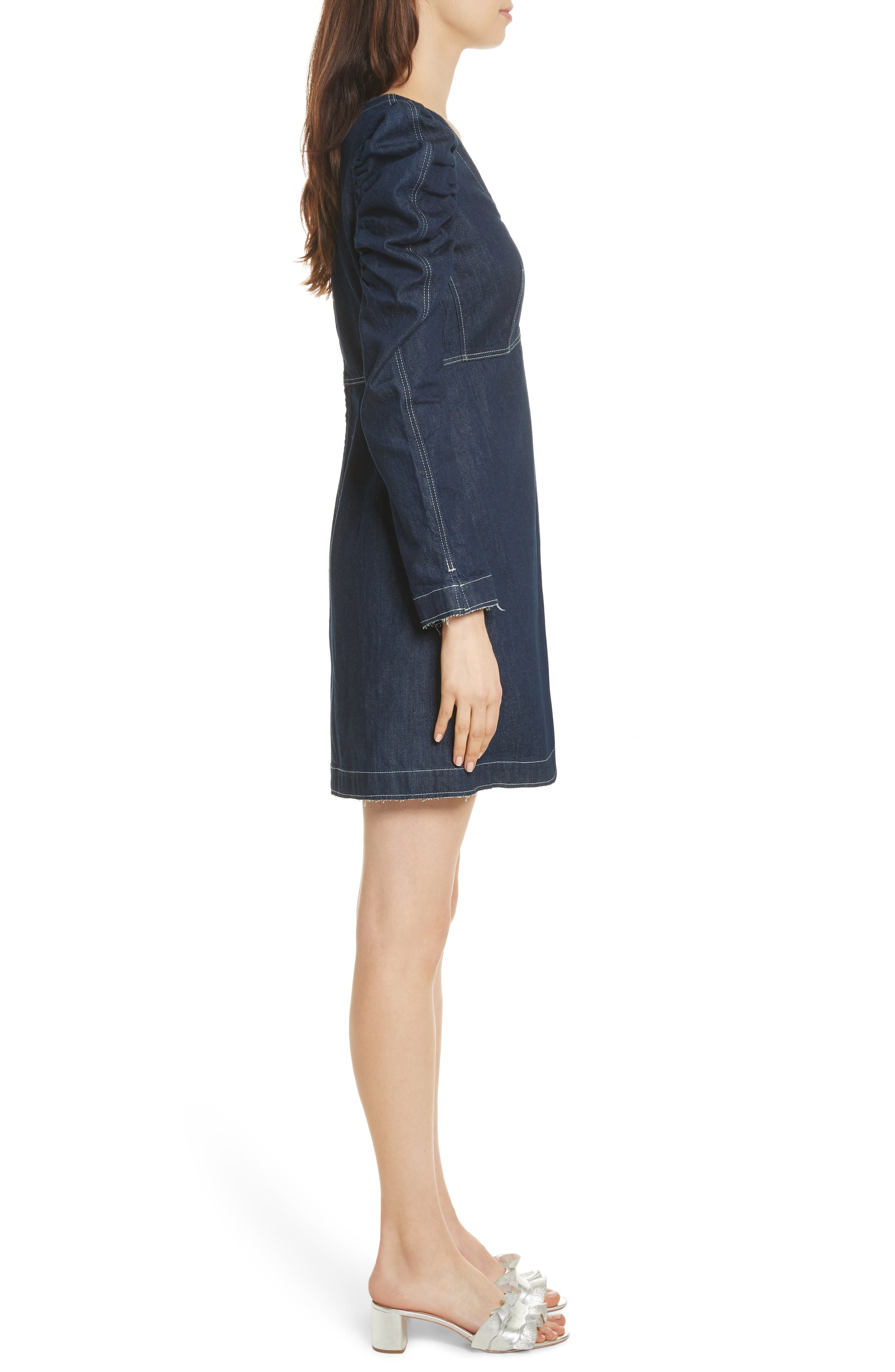 Ruched Sleeve Denim Dress,                             Alternate thumbnail 3, color,
