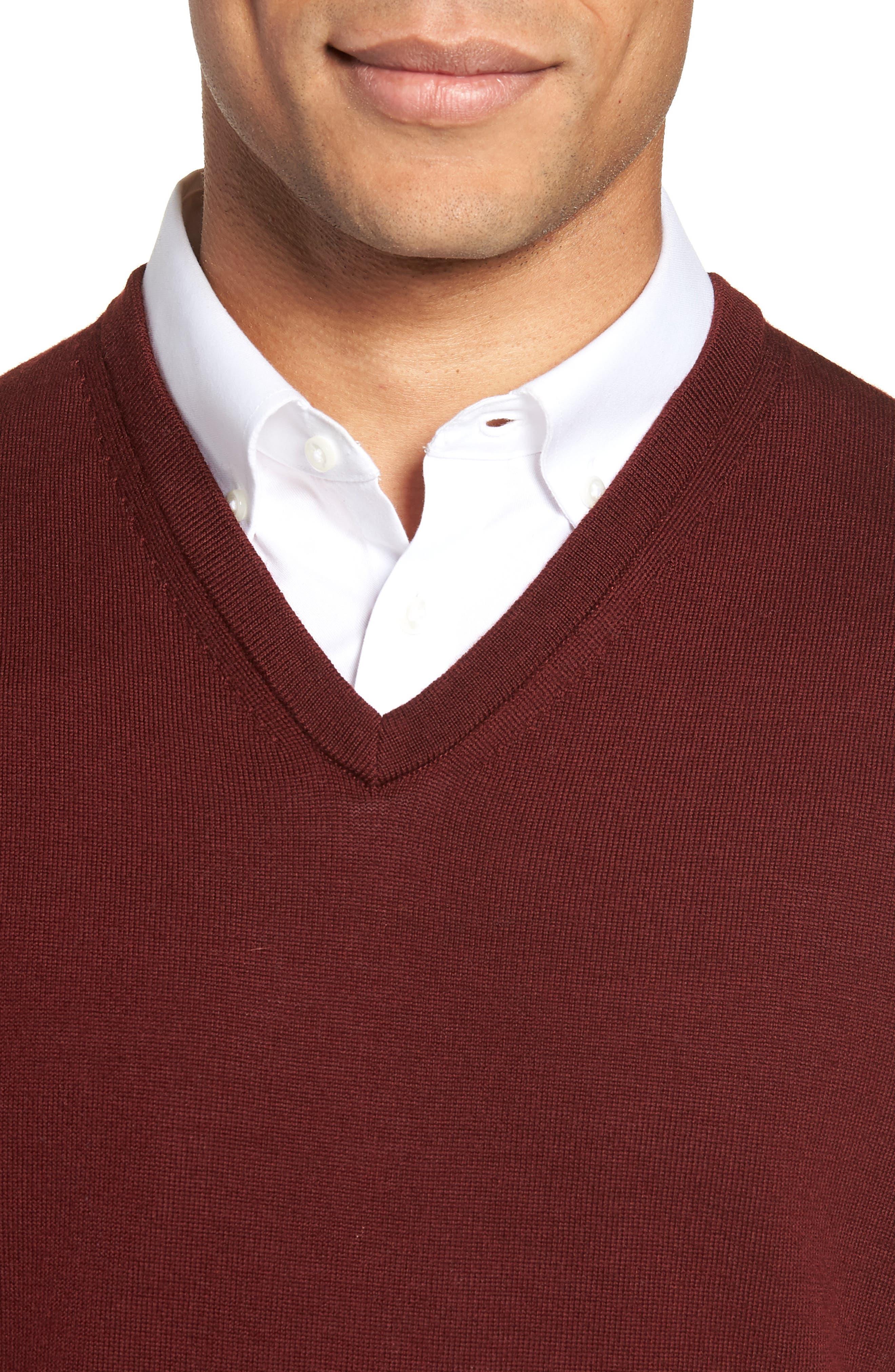 Merino Wool Sweater Vest,                             Alternate thumbnail 4, color,                             BURGUNDY ROYALE