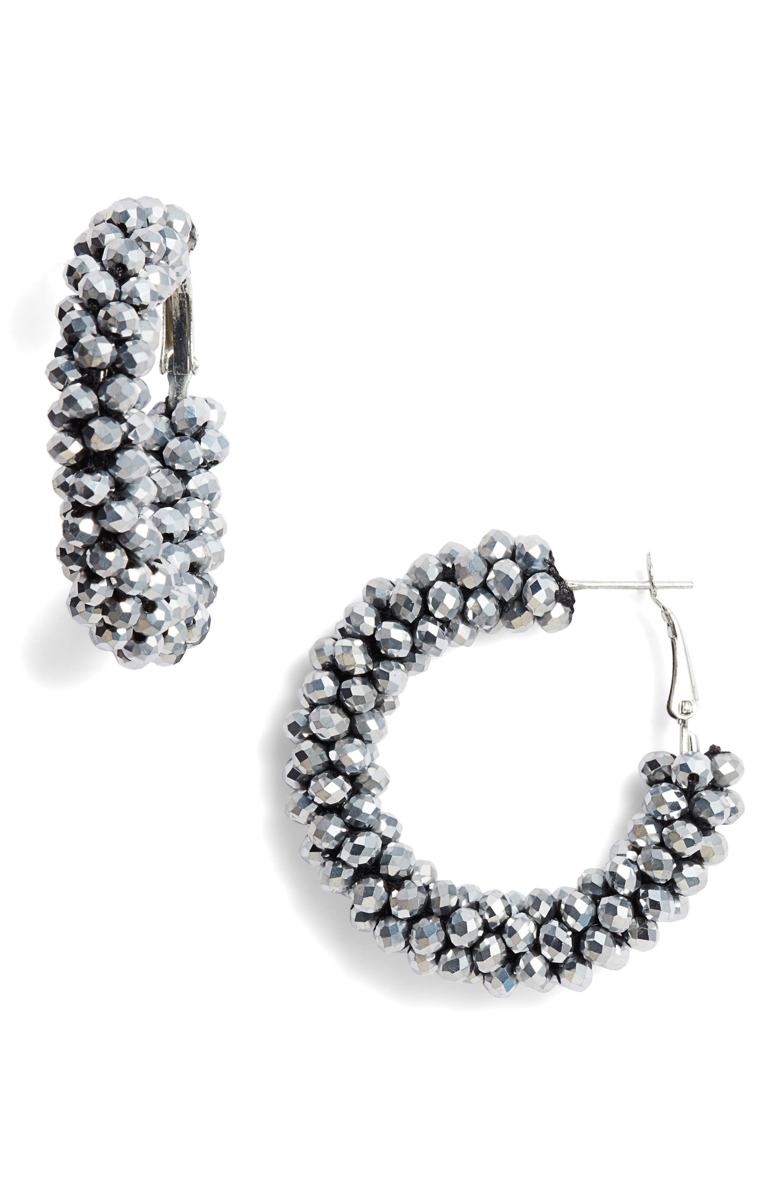 AREA STARS Beaded Hoop Earrings in Silver