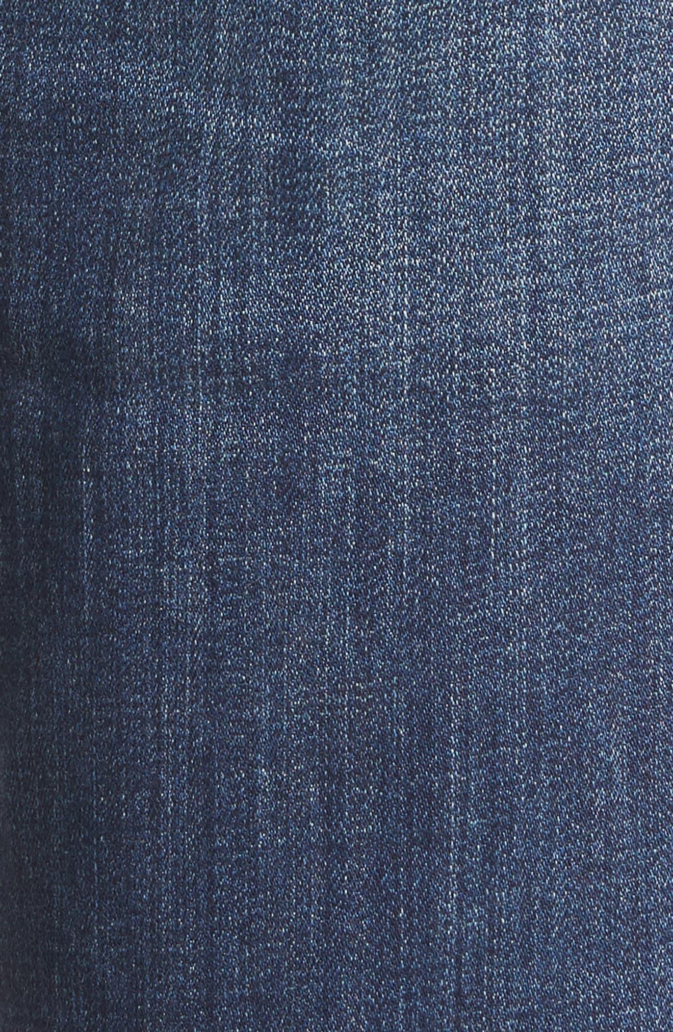 Carter Cuffed Stretch Girlfriend Jeans,                             Alternate thumbnail 5, color,                             MEDIUM INDIGO