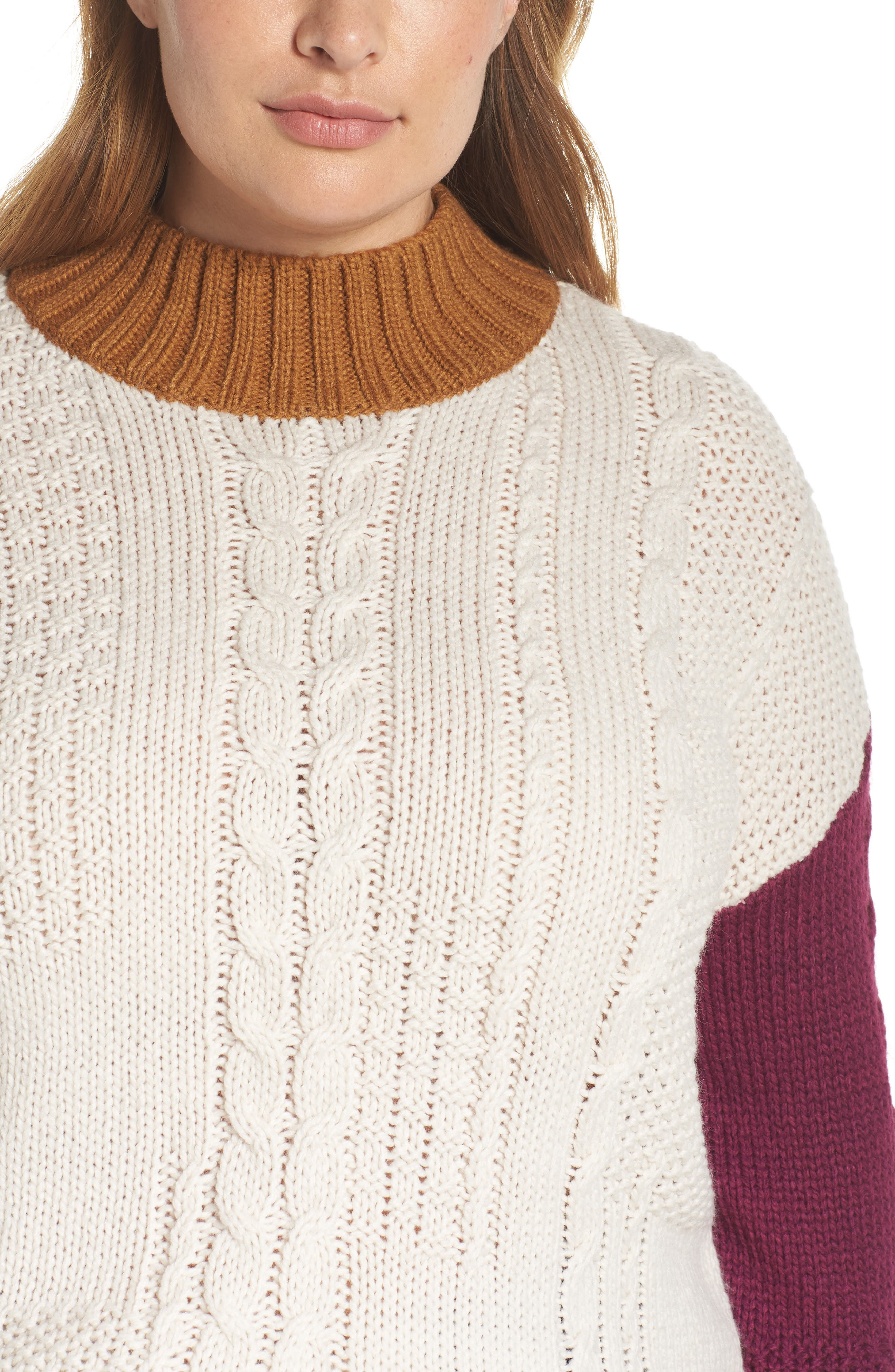 Colorblock Cable Knit Pullover,                             Alternate thumbnail 10, color,                             270