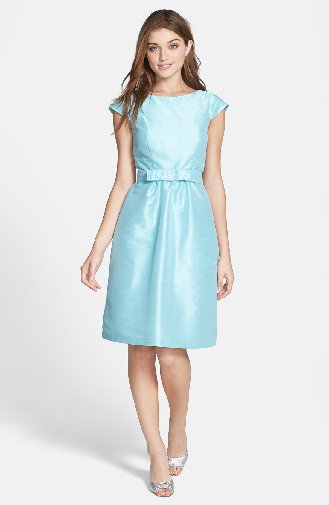 Woven Fit & Flare Dress,                             Main thumbnail 6, color,