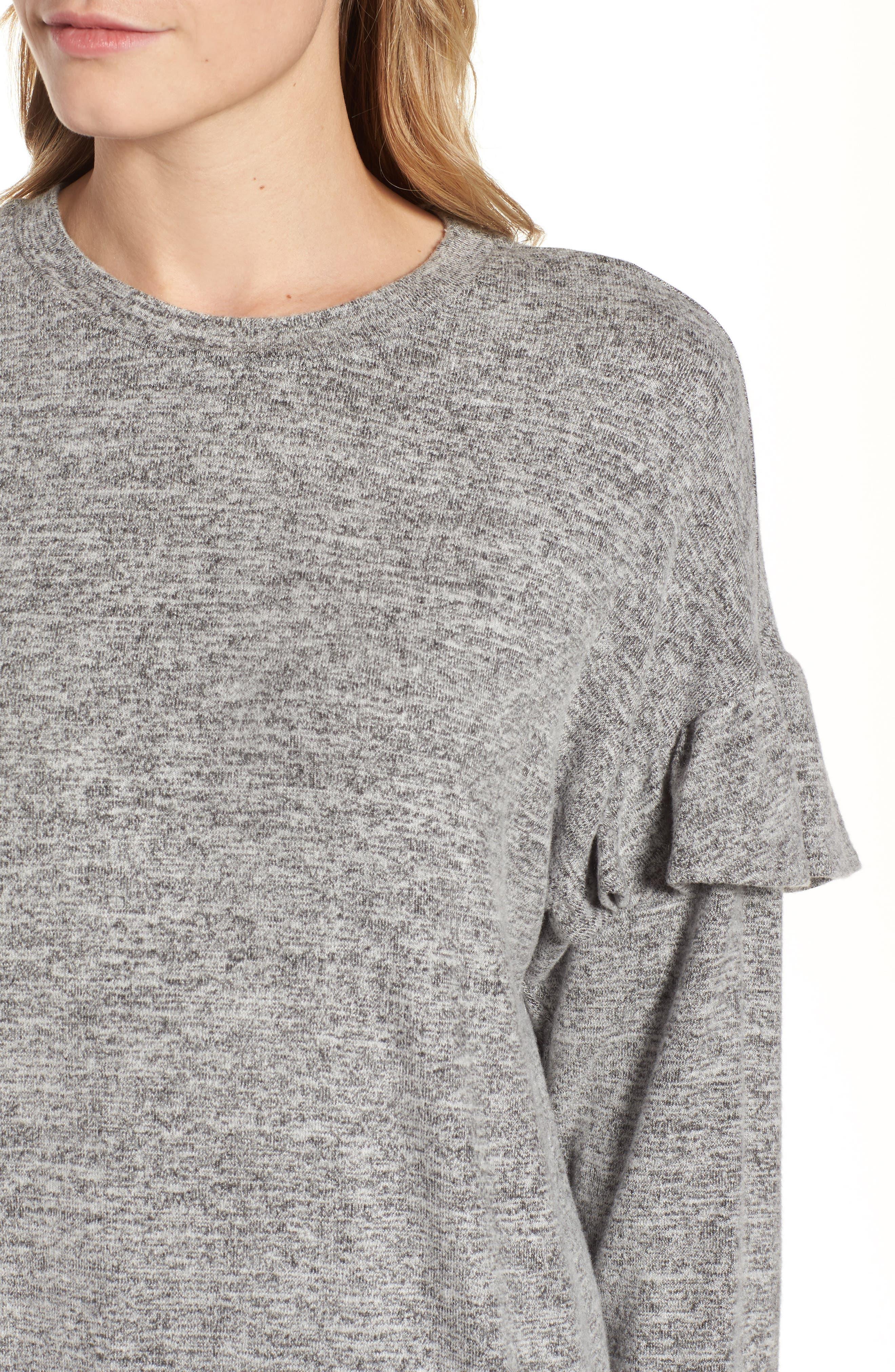 Ruffle Sleeve Sweatshirt,                             Alternate thumbnail 4, color,                             100