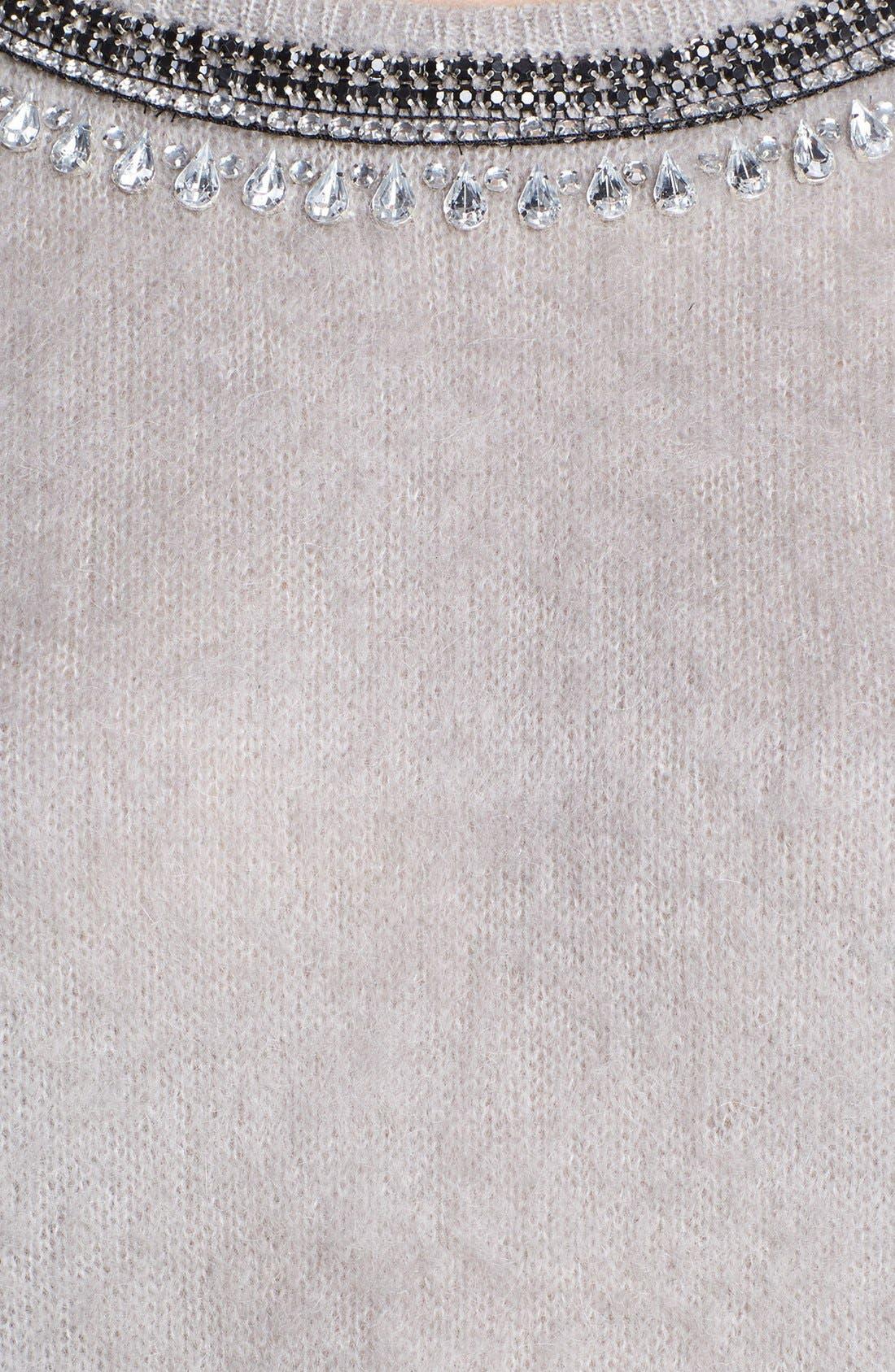 Jewel Neck Textured Sweater,                             Alternate thumbnail 3, color,                             020