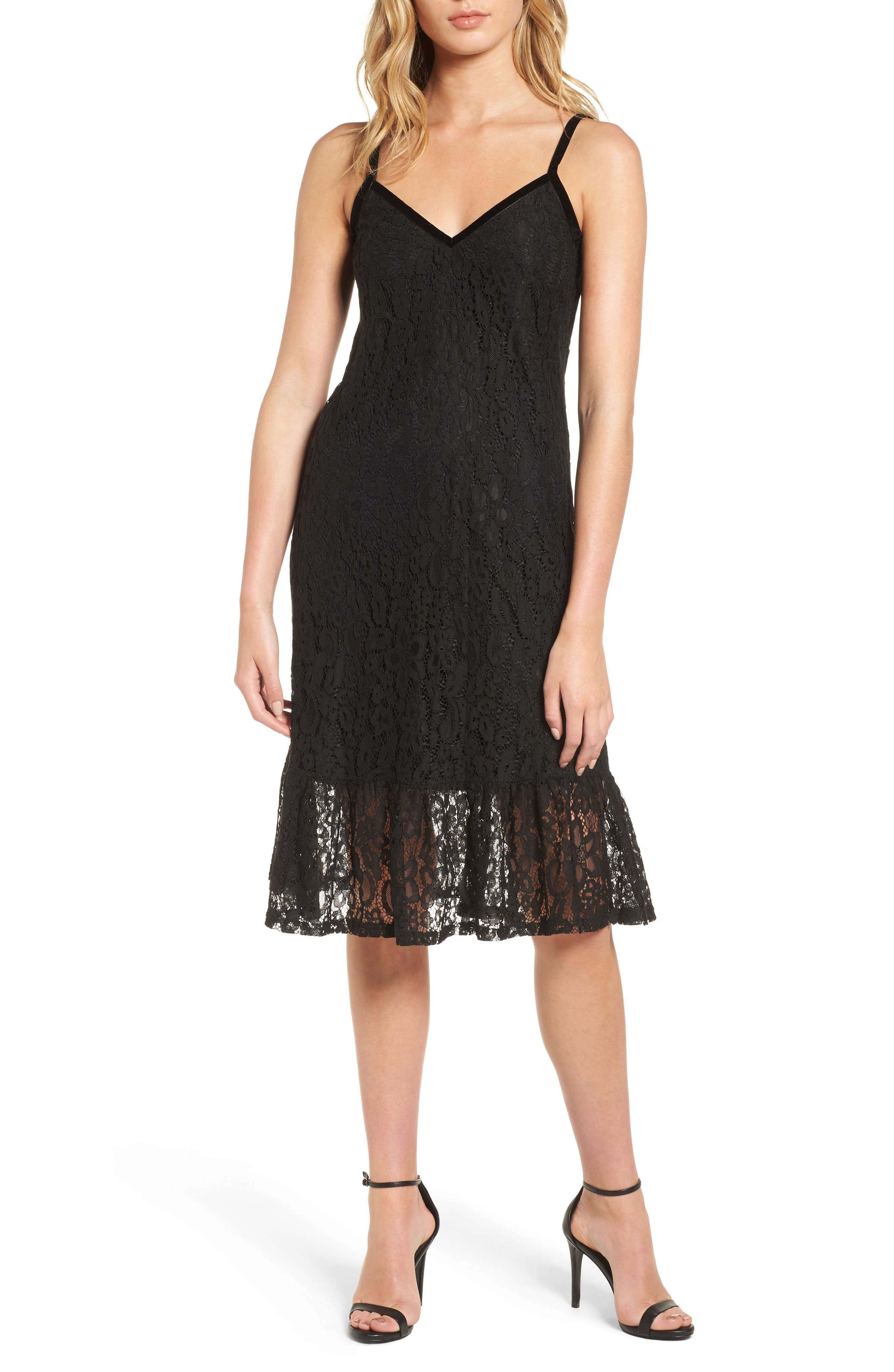 Lace Midi Dress,                             Main thumbnail 1, color,
