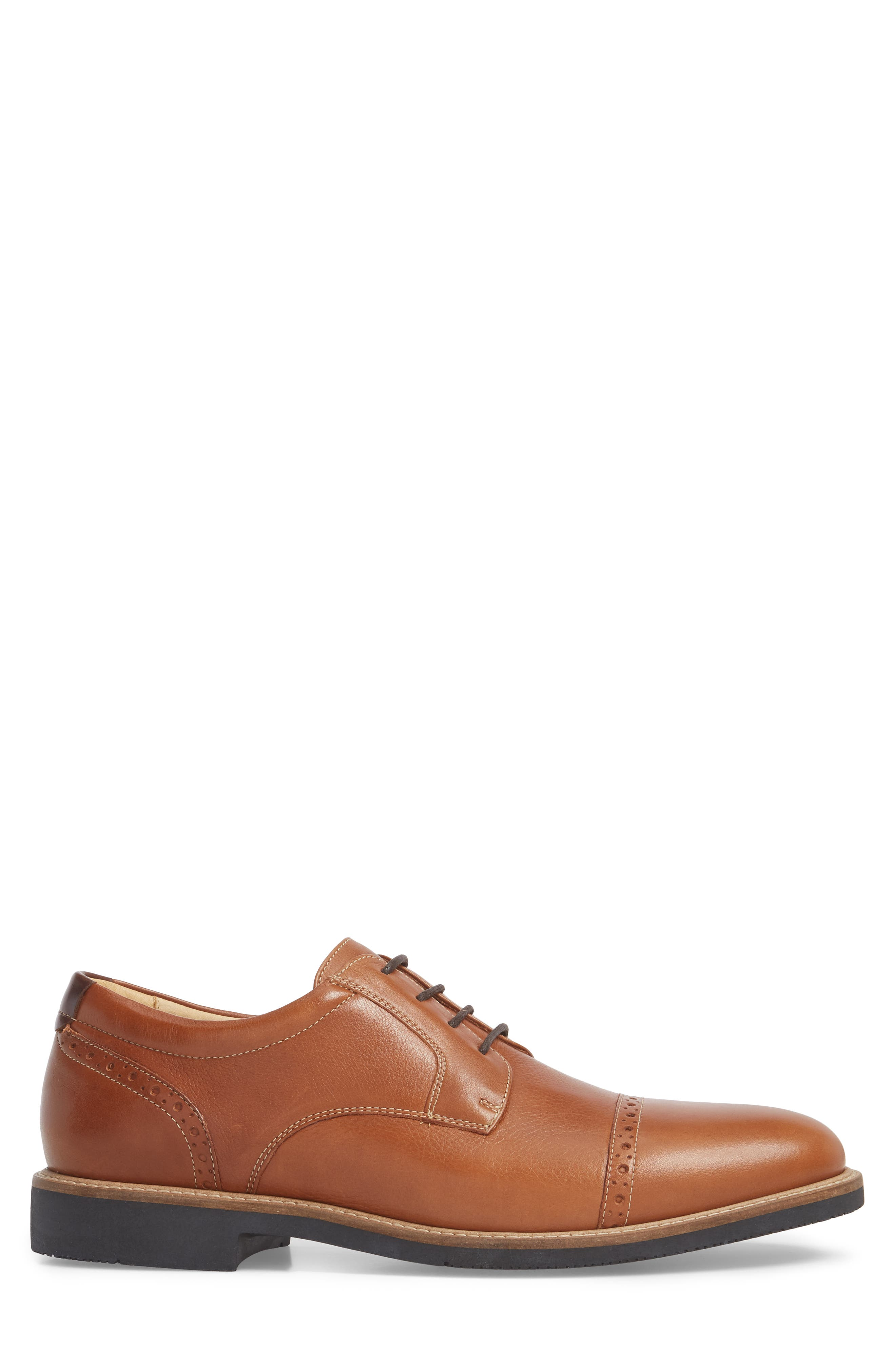 JOHNSTON & MURPHY,                             Barlow Cap Toe Derby,                             Alternate thumbnail 3, color,                             TAN LEATHER