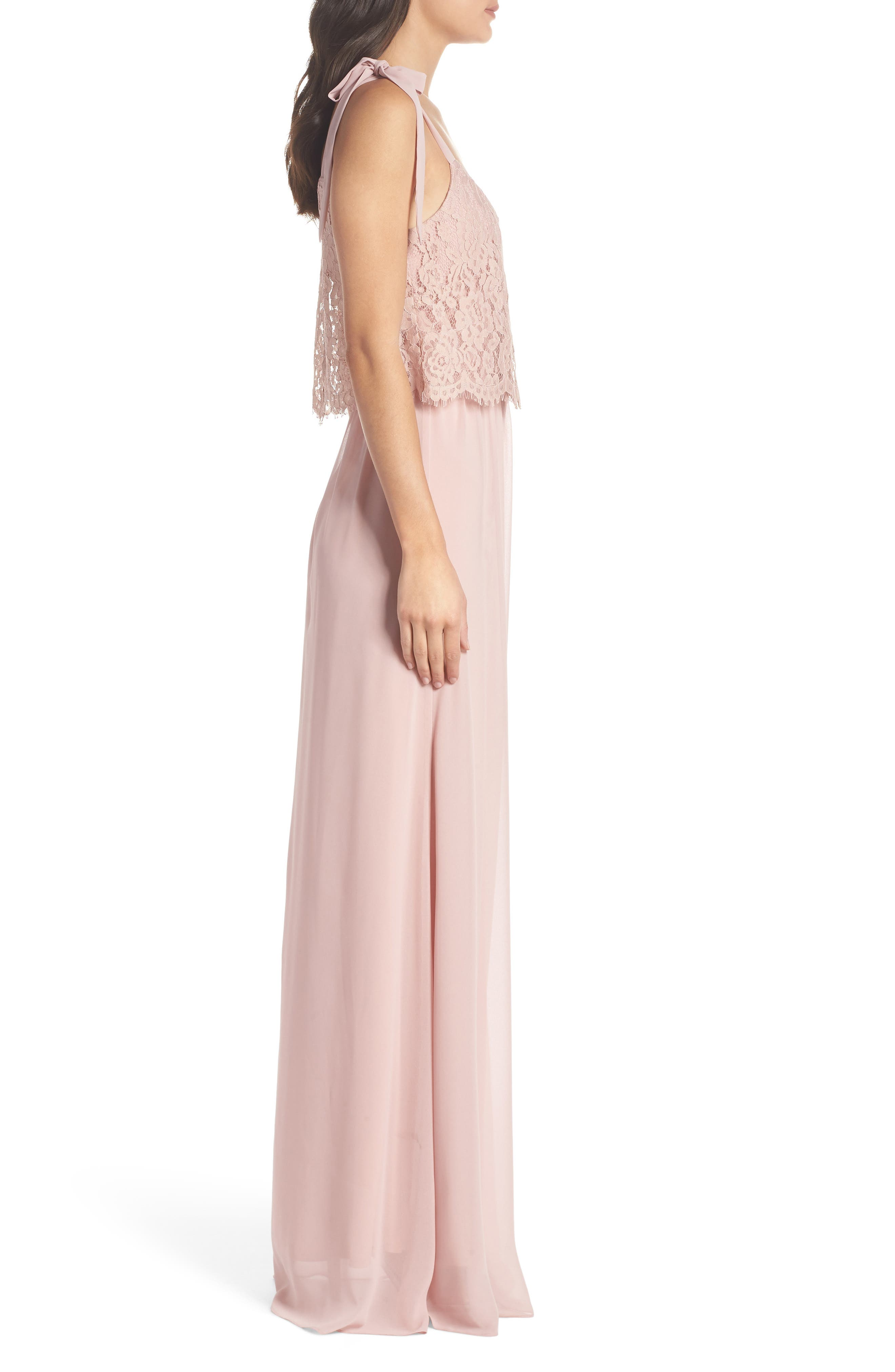 Koko Tie Shoulder Lace Bodice Gown,                             Alternate thumbnail 3, color,                             MAUVE