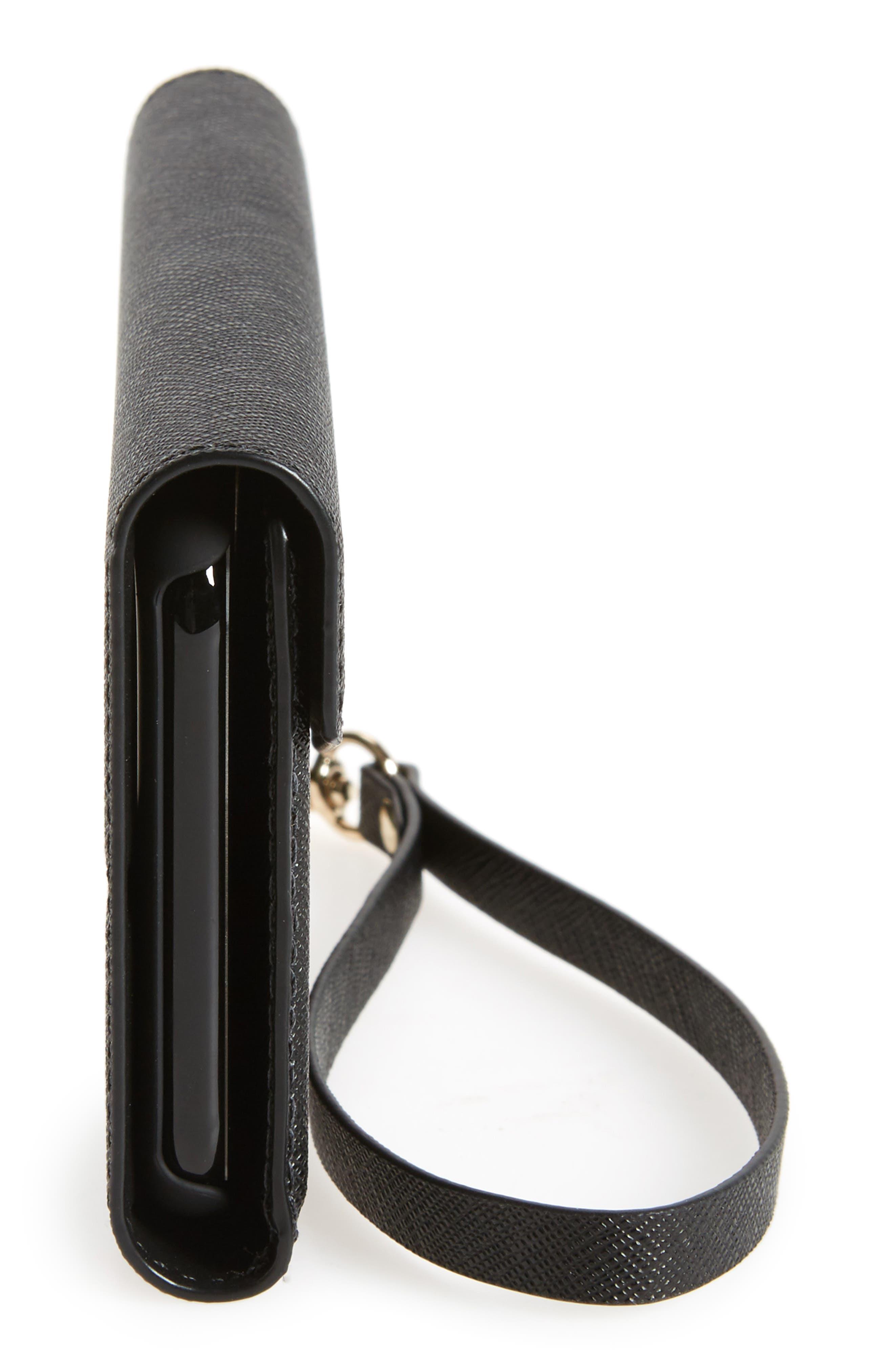 iPhone 7/8 & 7/8 Plus leather wristlet,                             Alternate thumbnail 5, color,                             BLACK