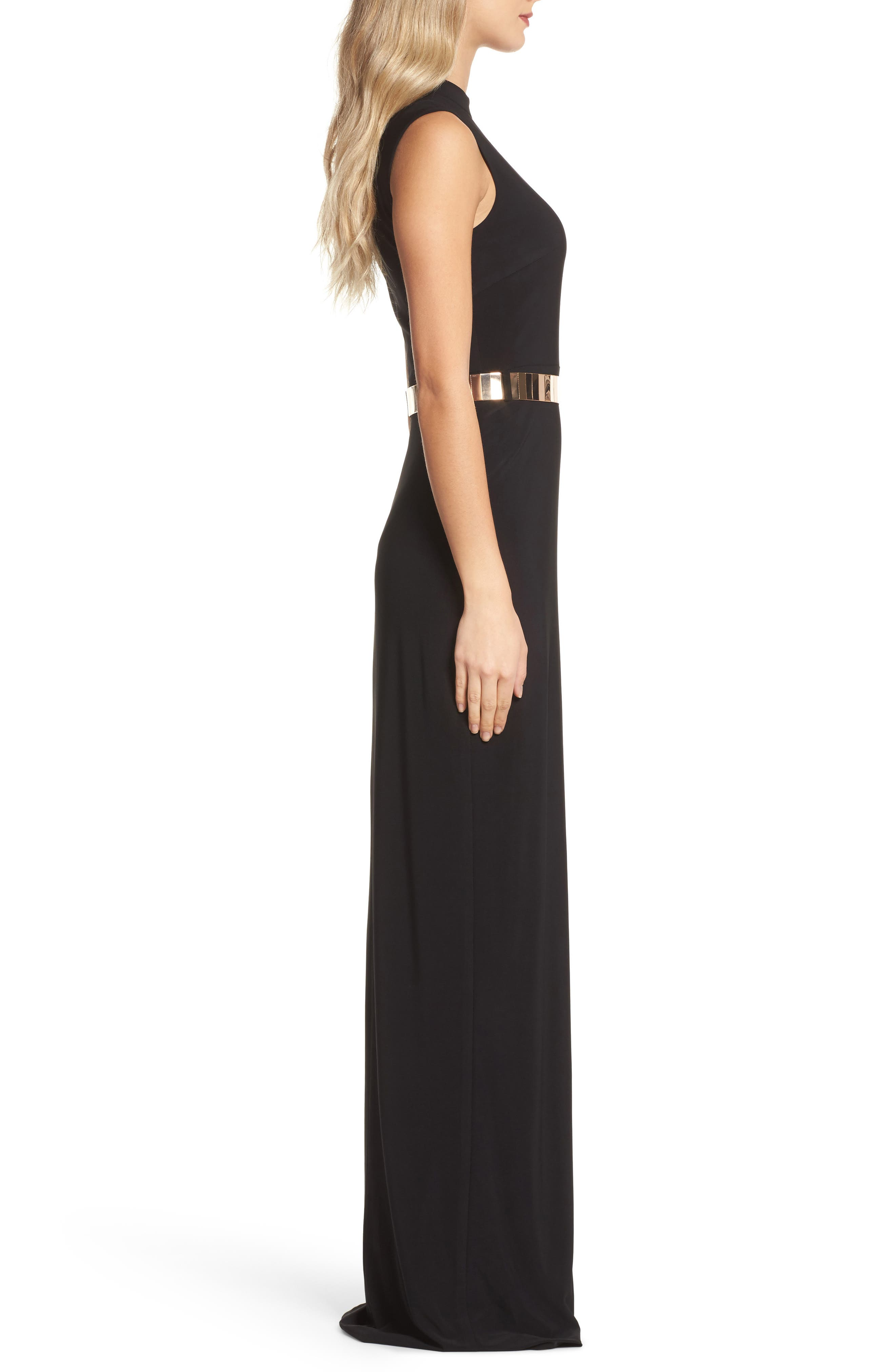 Belted Mock Neck Sheath Gown,                             Alternate thumbnail 3, color,                             001